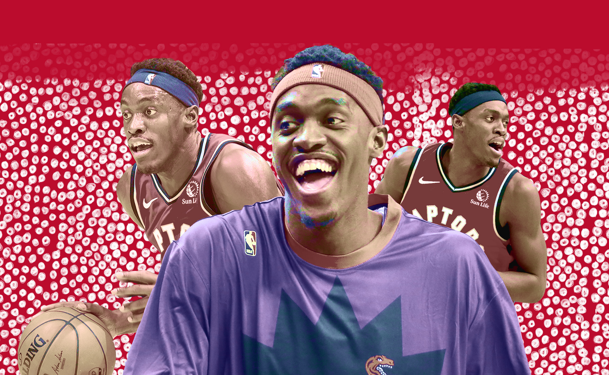 A collage of Pascal Siakam smiling and playing.