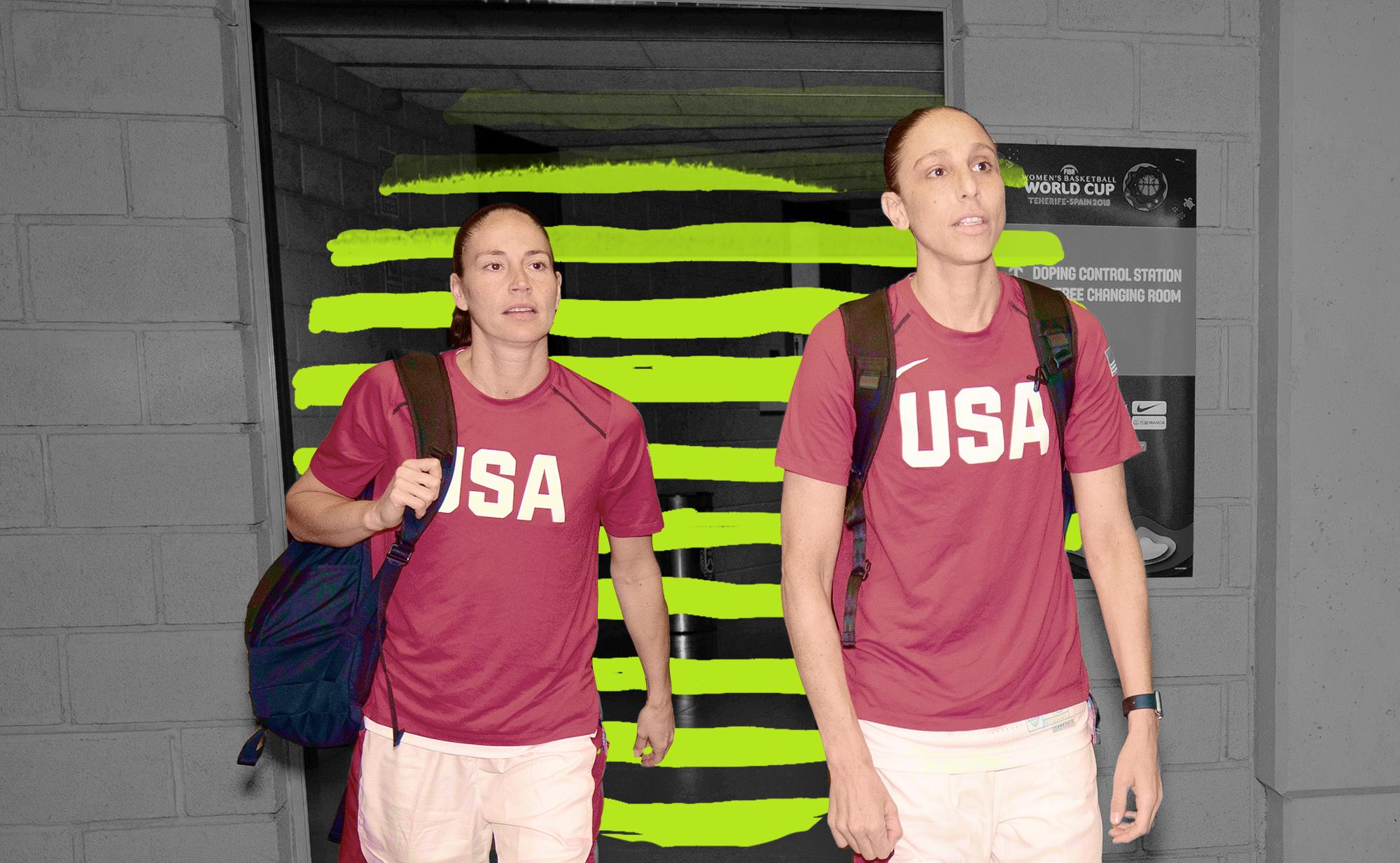 Diana Taurasi and Sue Bird in their USA warmups.