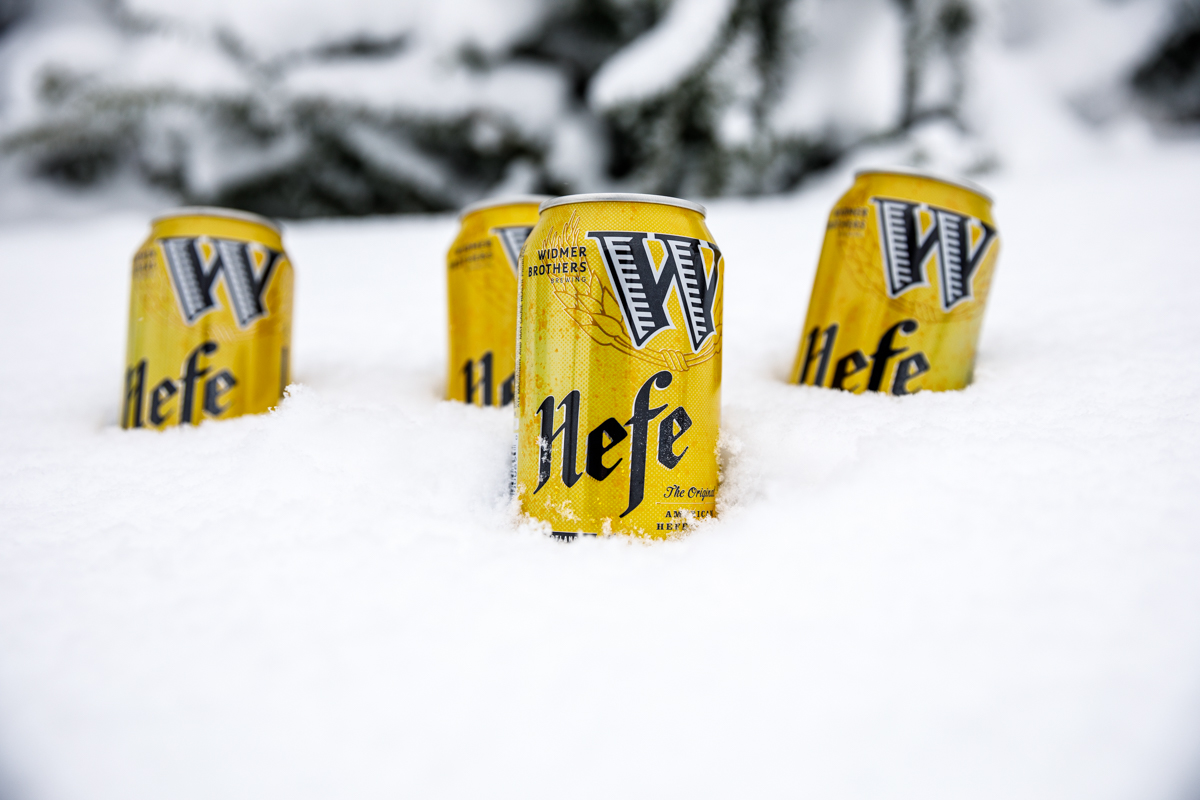 Widmer Hefe cans in the snow