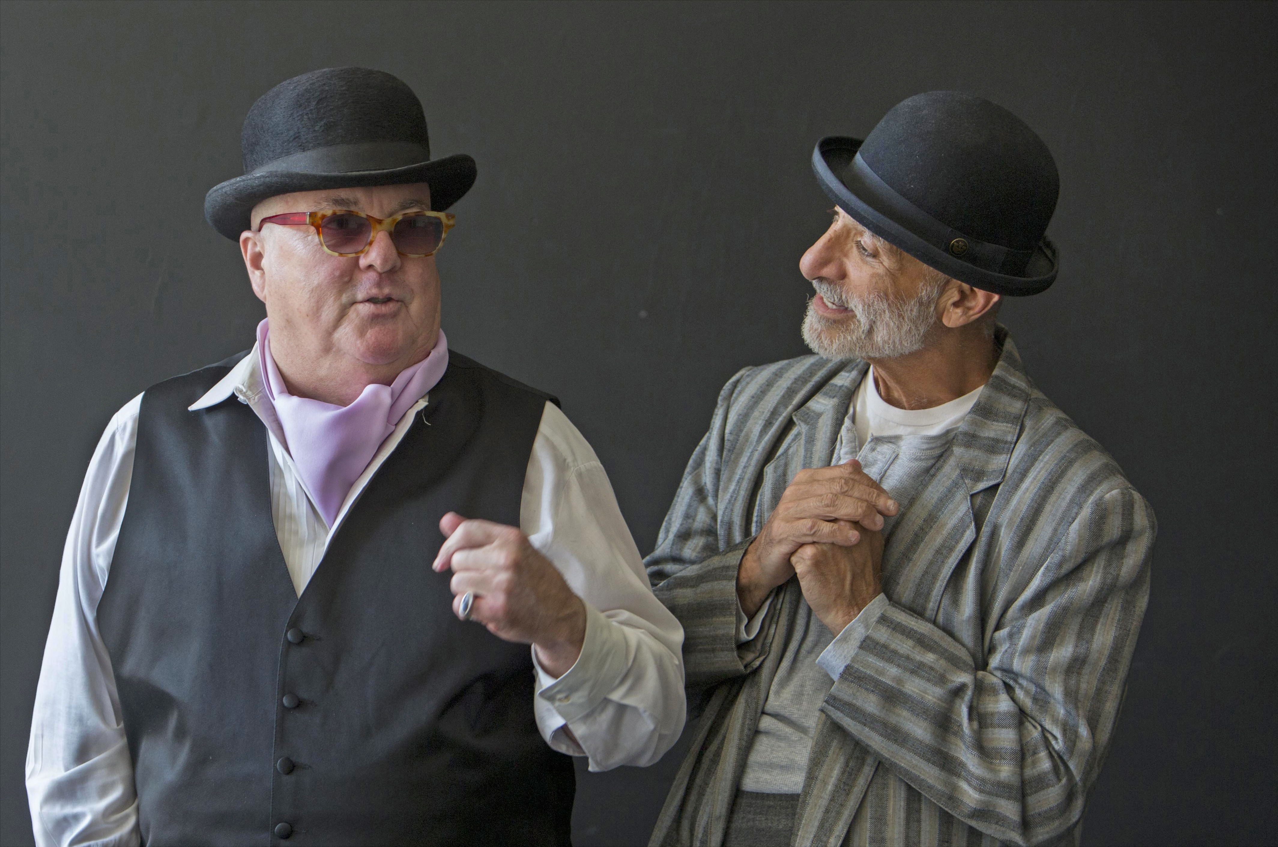 """Larry Russo as Pozzo (left) and Michael Saad as Estragon_in """"Waiting for Godot"""" at Victory Gardens Theater."""