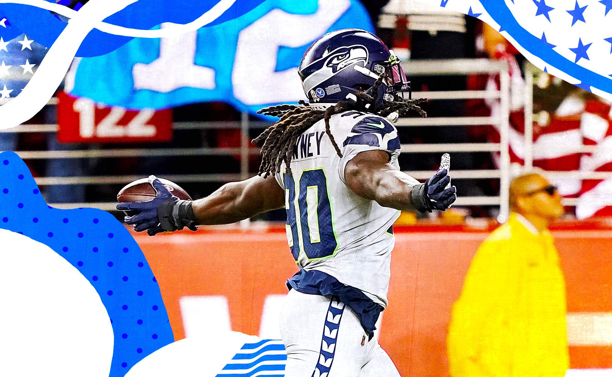Seahawks pass rusher Jadeveon Clowney holding his arms out after scoring a touchdown vs. the 49ers