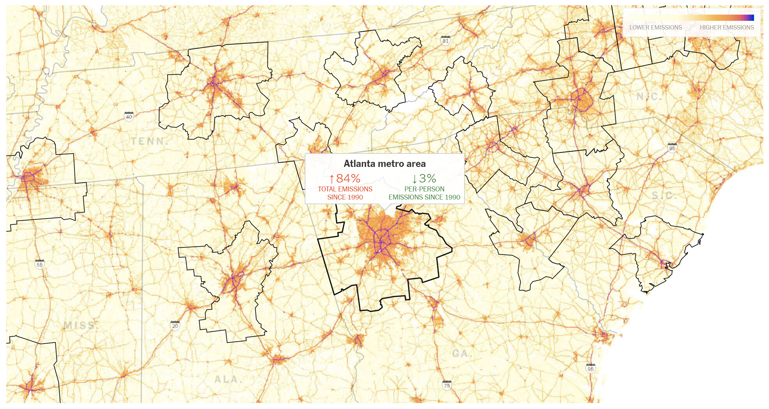 A heat map shows where auto emissions stem from in the metro Atlanta region.