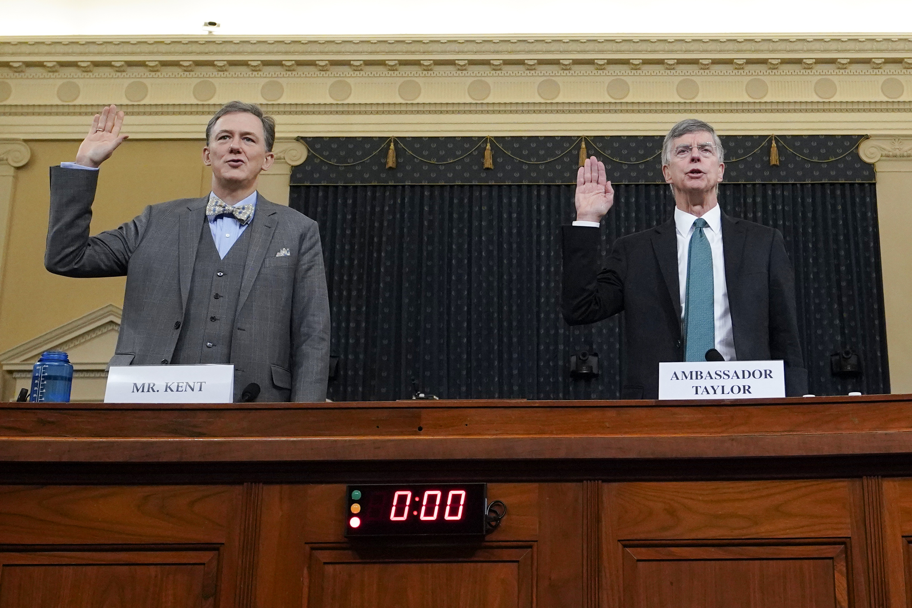 Deputy Assistant Secretary for European and Eurasian Affairs George P. Kent (left) and top U.S. diplomat in Ukraine William B. Taylor Jr.