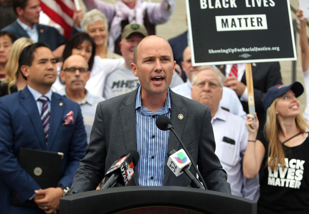 Lt. Gov. Spencer Cox speaks at the One Utah Rally for Unity on the steps of the State Capitol Building in Salt Lake City, on Monday, Aug. 14, 2017.