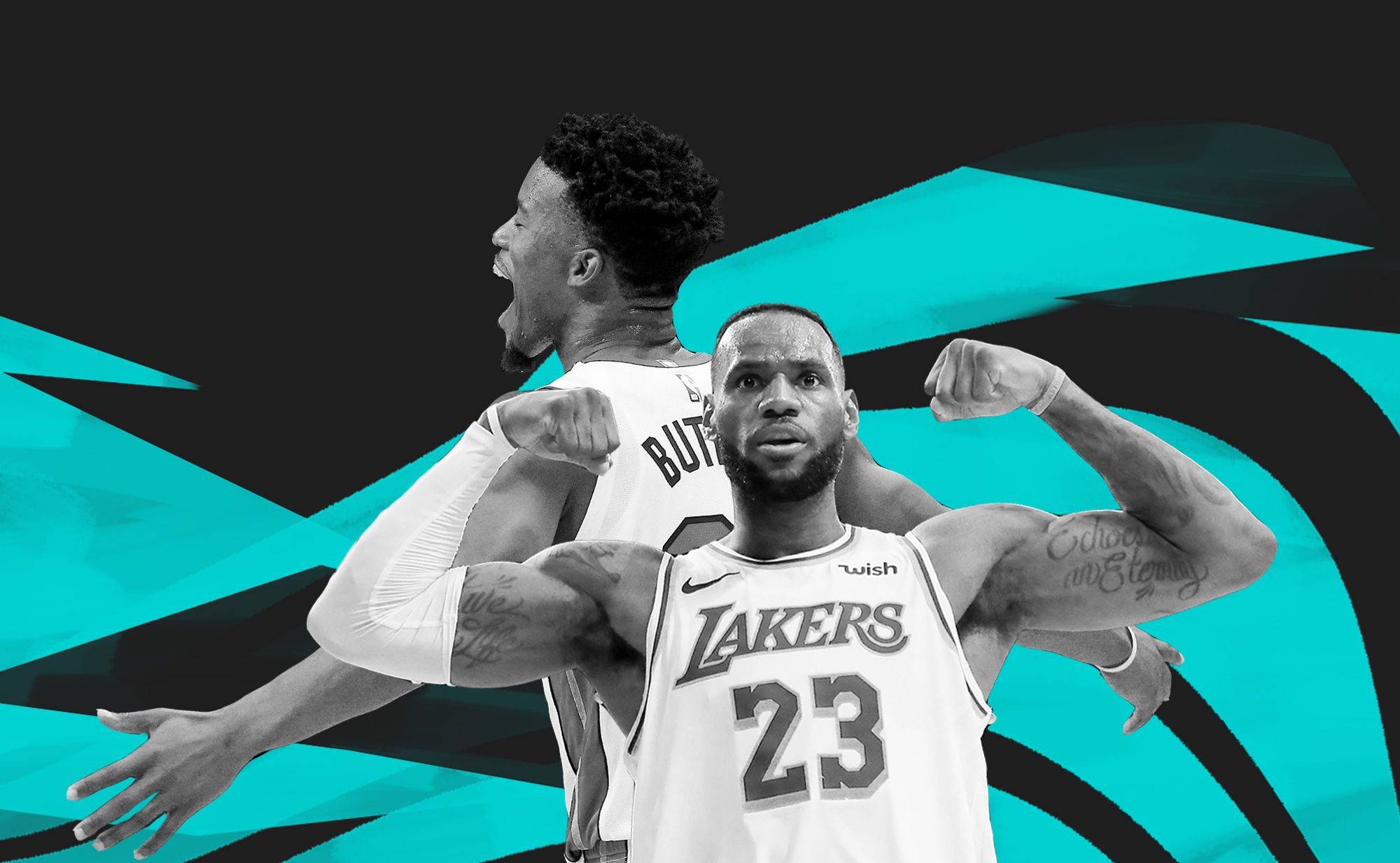 Black-and-white collage of LeBron James flexing and Jimmy Butler celebrating