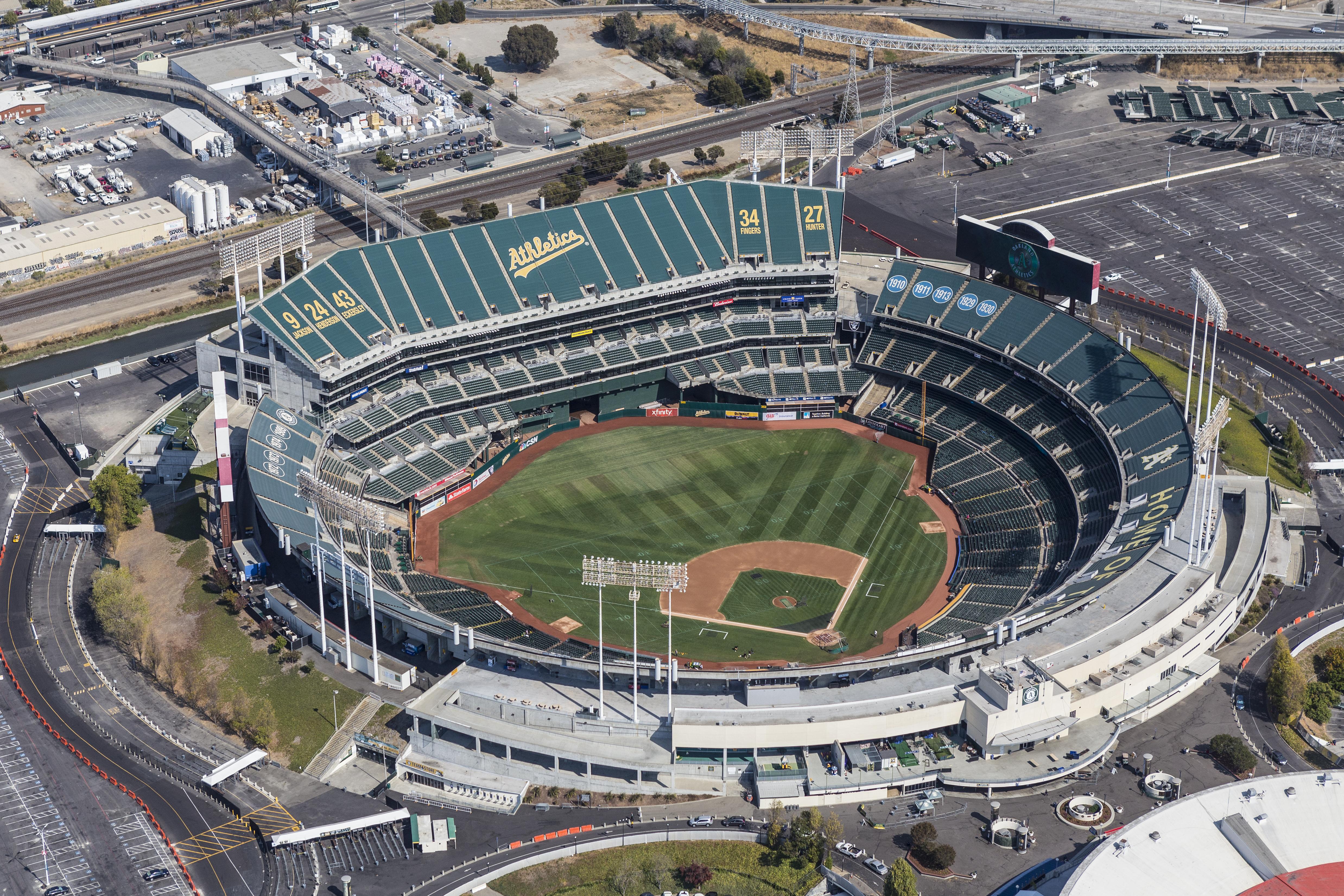 Aerial view of the Oakland Coliseum stadium.