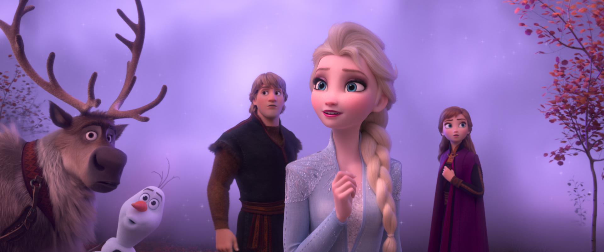Elsa, Anna, Kristoff, Sven, and Olad surrounded by magical fog
