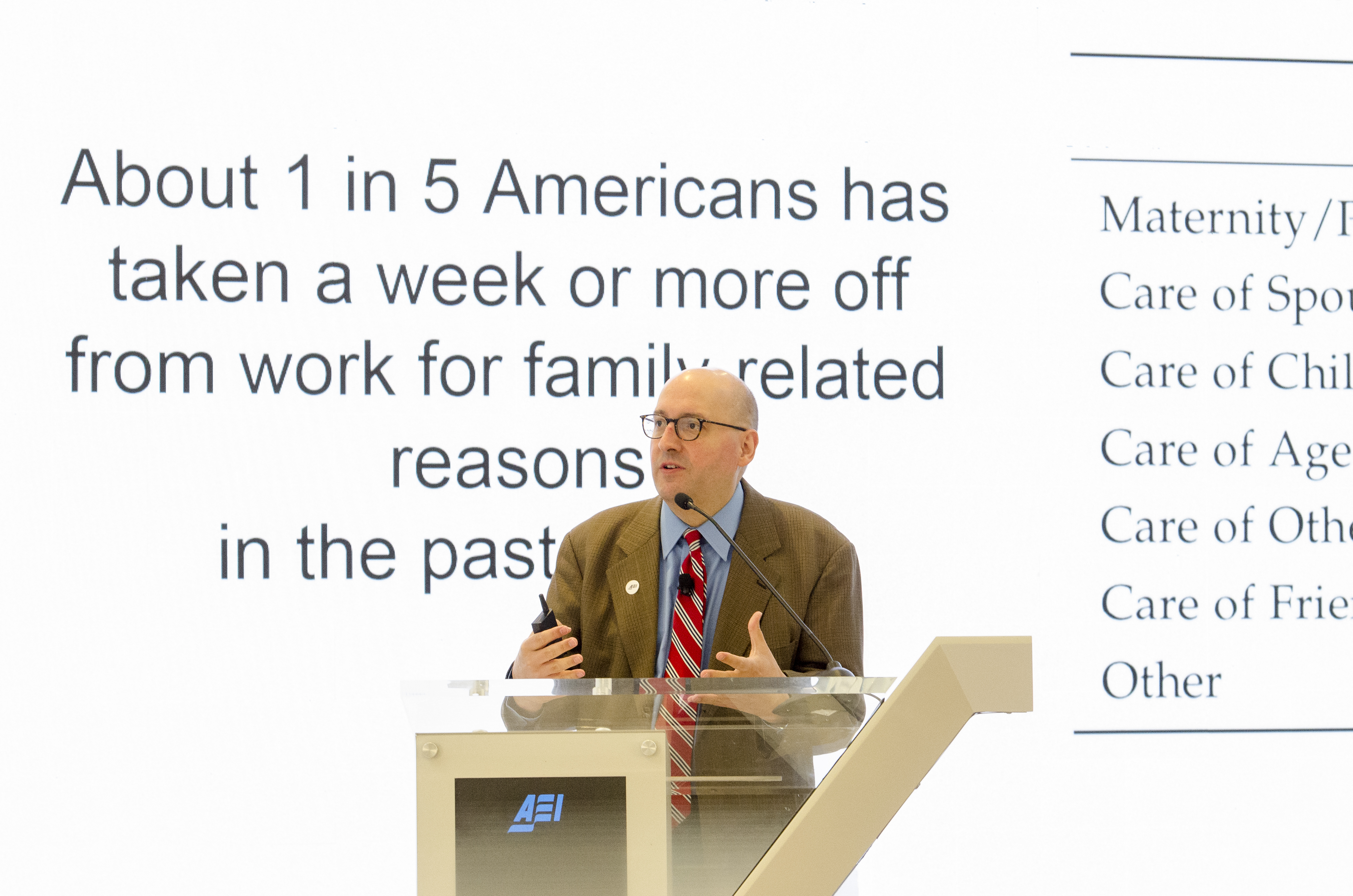 """Christopher Karpowitz, Brigham Young University, offers a presentation during the """"Fifth Annual American Family Survey: Myths about families, plus what Americans really think about paid family leave"""" panel discussion at the American Enterprise Institute in Washington, DC, Thursday, September 12, 2019."""