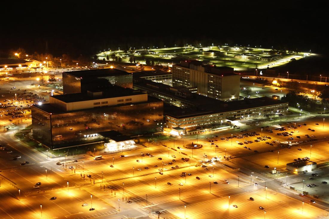 NSA headquarters at night (Public domain)