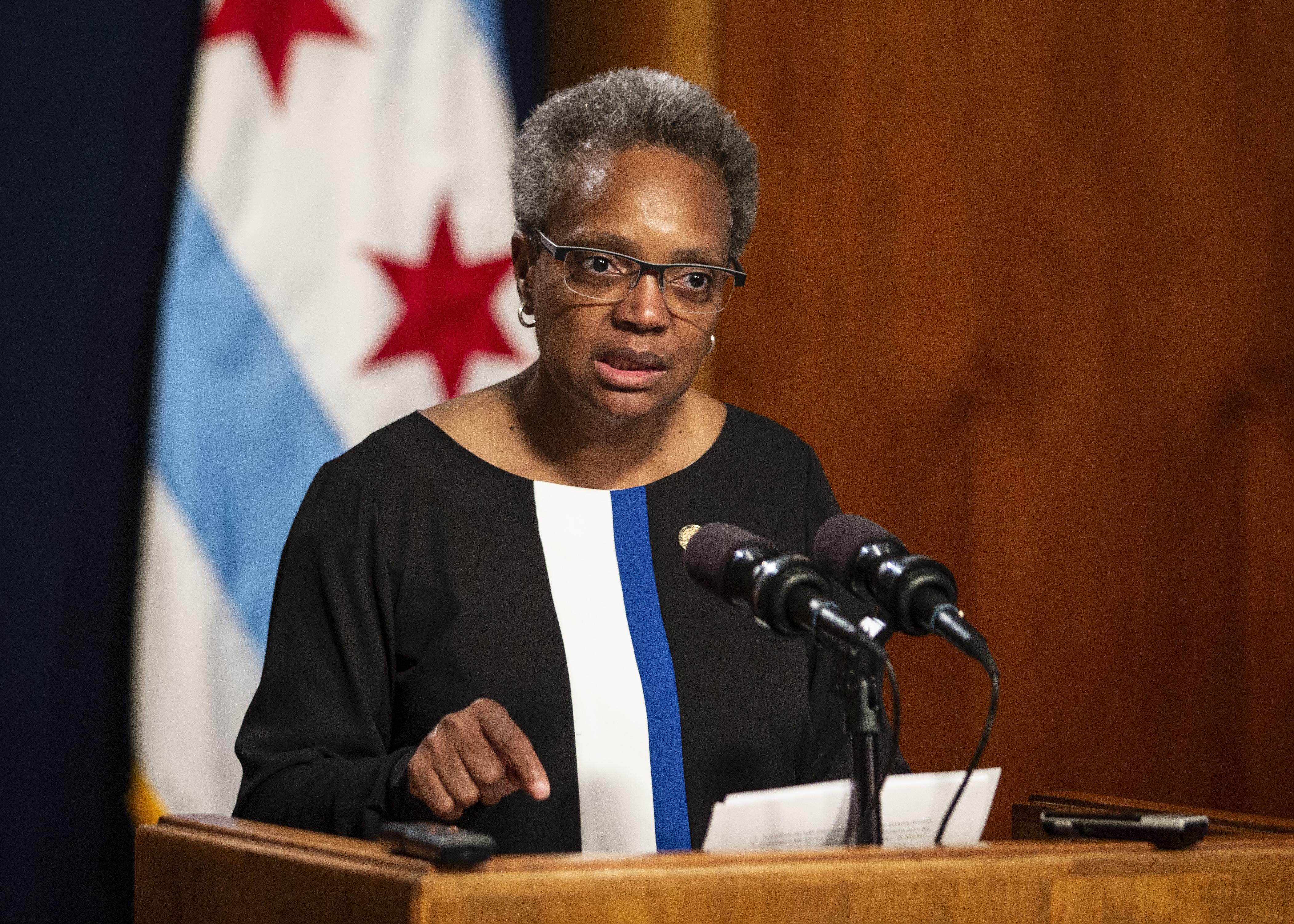 Mayor Lori Lightfoot at City Hall press conference in May.