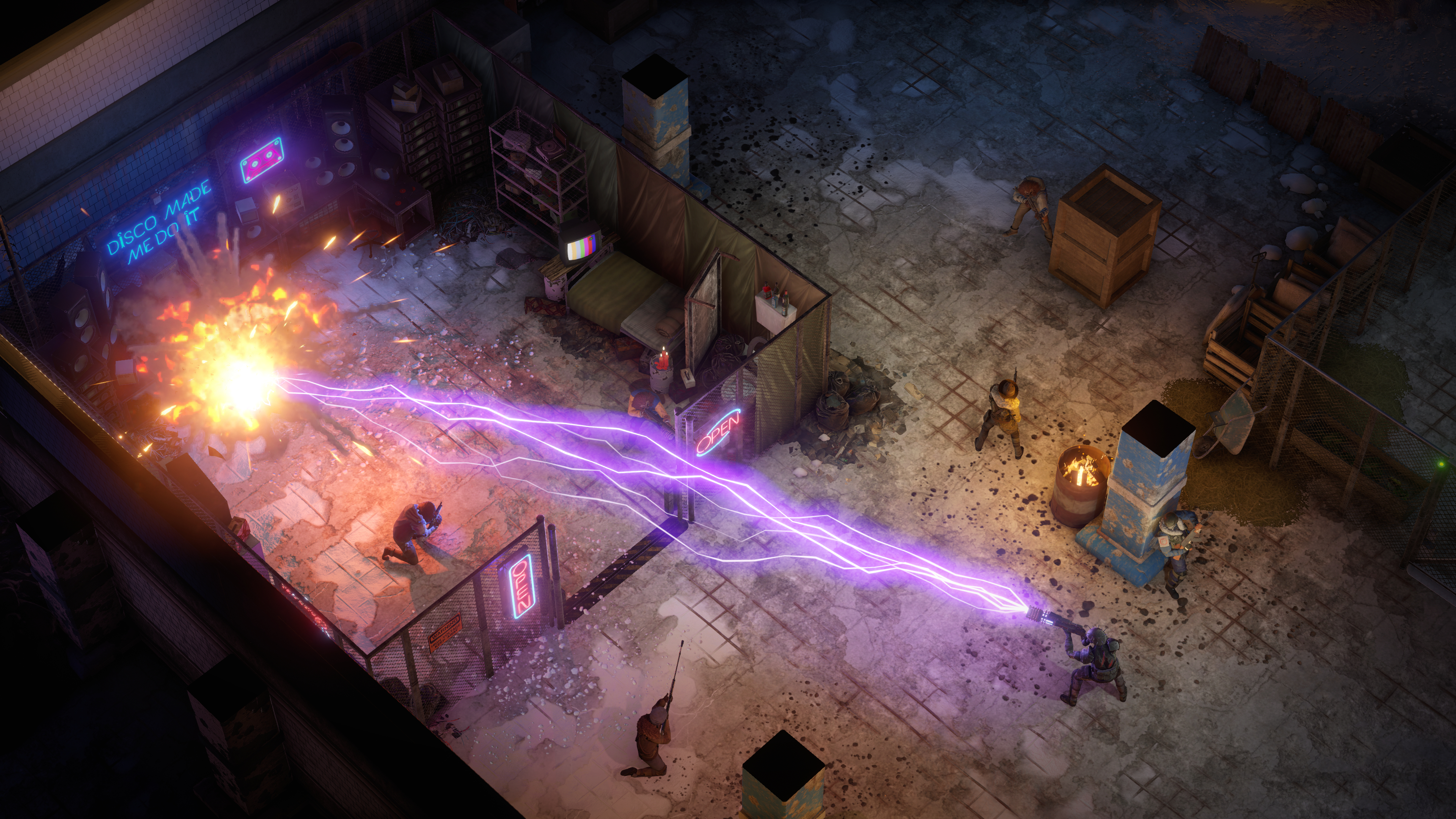 Screenshot from Wasteland 3, with a character shooting a purple laser beam