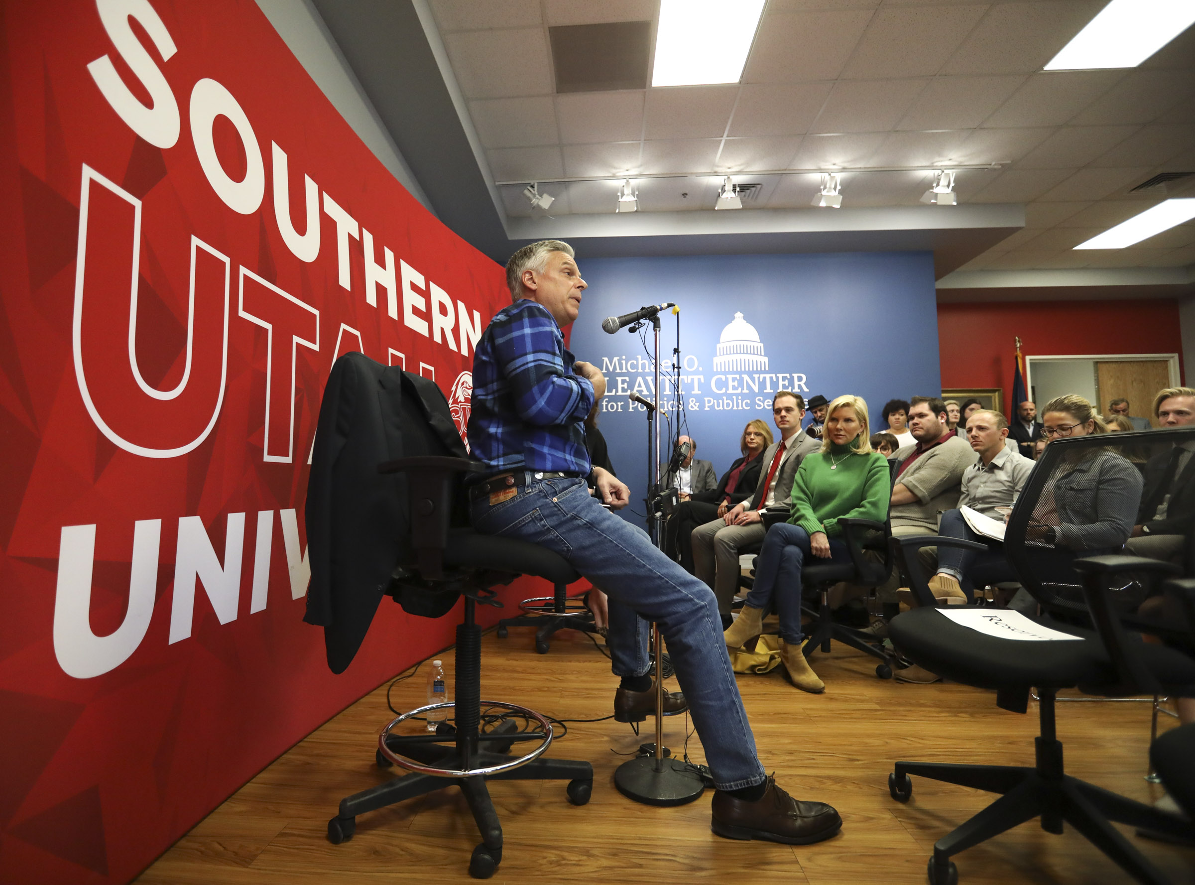 """Jon Huntsman Jr. speaks during a forum at the Michael O. Leavitt Center for Politics and Public Service at Southern Utah University in Cedar City on Thursday, Nov. 14, 2019. Huntsman spoke on """"Utah and the World"""" during the event and also answered questions about his newly announced run for a third term as Utah's governor."""