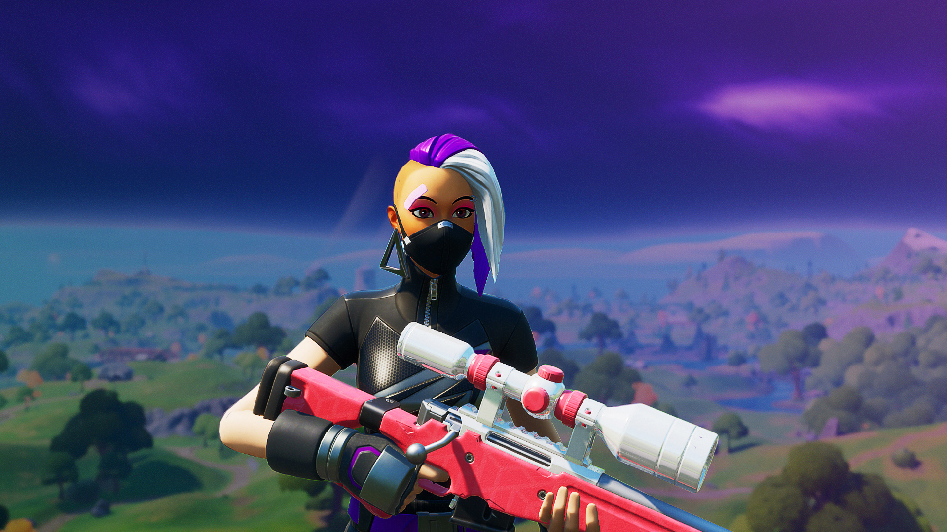 a female character from Fortnite holding a pink sniper rifle