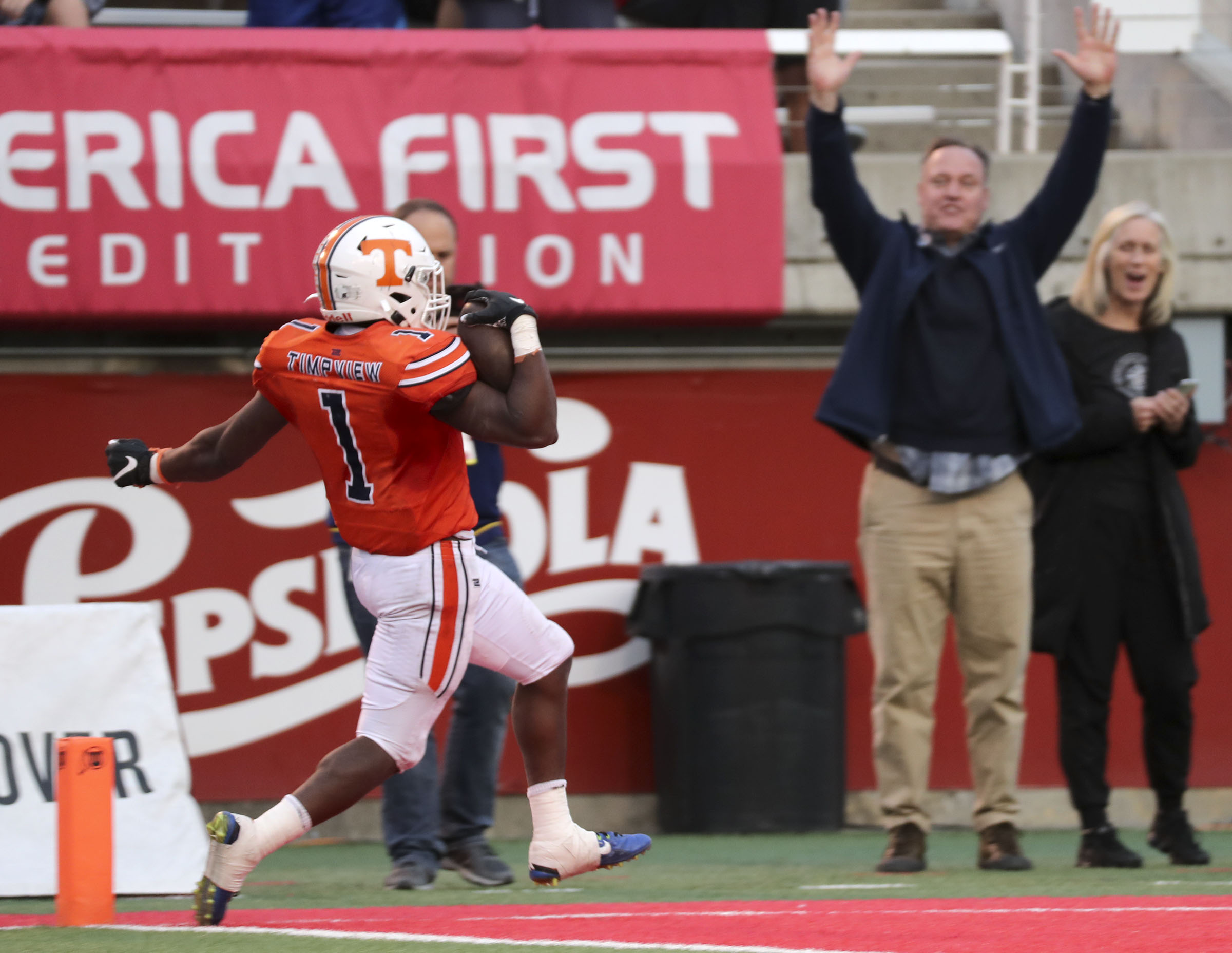 Timpview's Targhee Lambson scores a touchdown during the 5A football semifinal game against Lehi at Rice-Eccles Stadium in Salt Lake City on Thursday, Nov. 14, 2019. Timpview won 35-7.