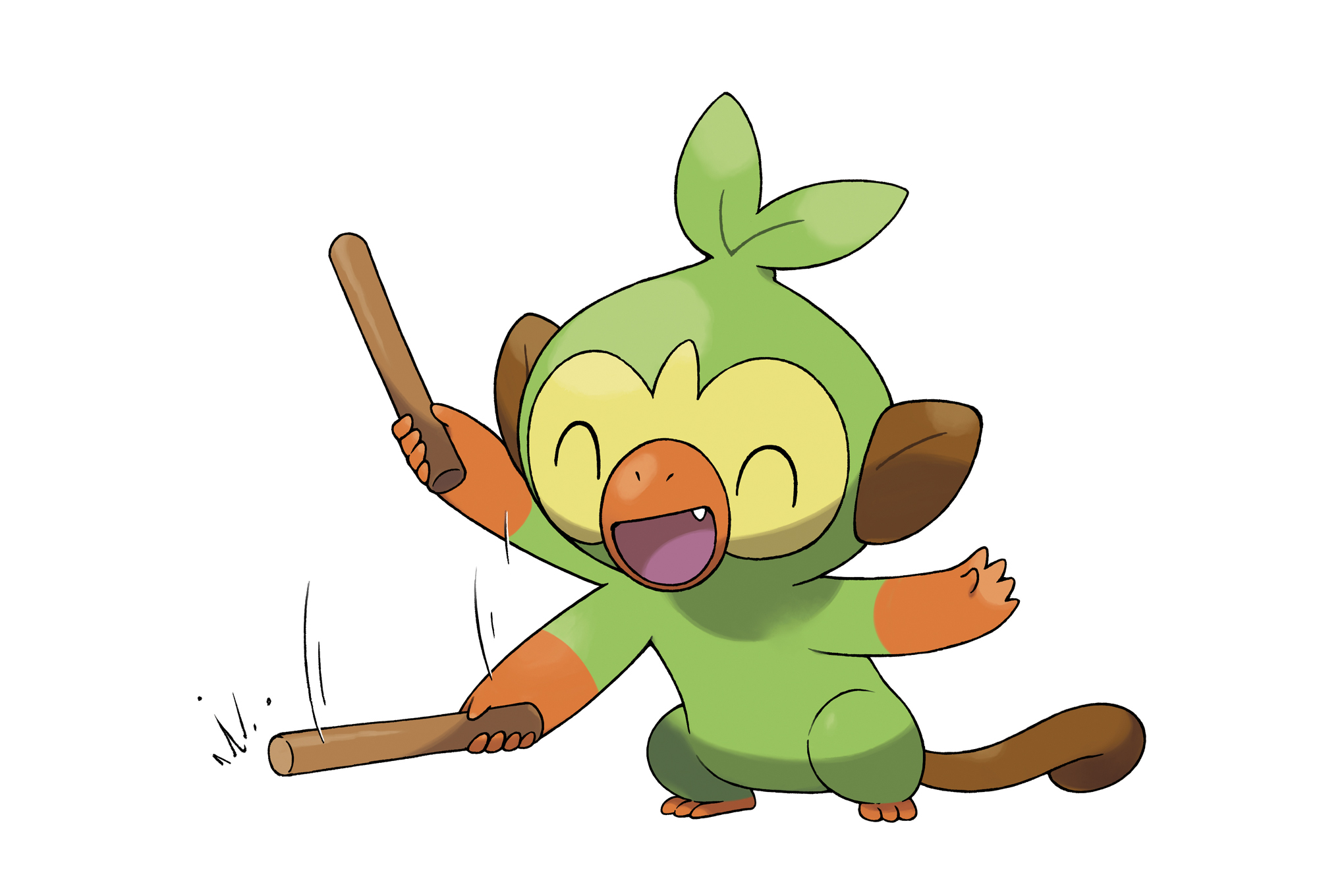 Grookey excited bangs a stick on the ground