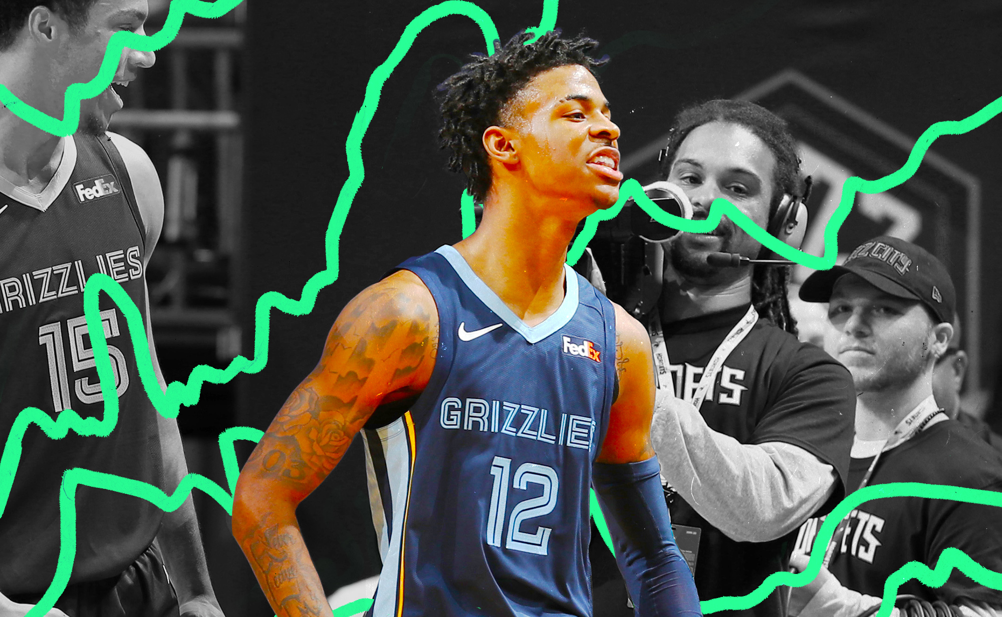 Ja Morant mean-mugging and flexing after hitting a game winning shot over the Hornets