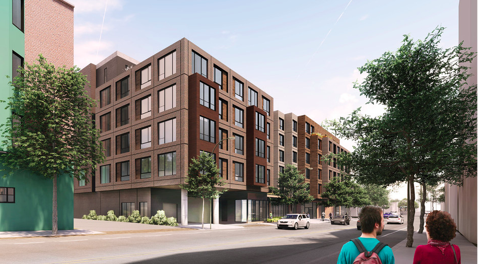 Rendering of a boxy, five-story apartment building.