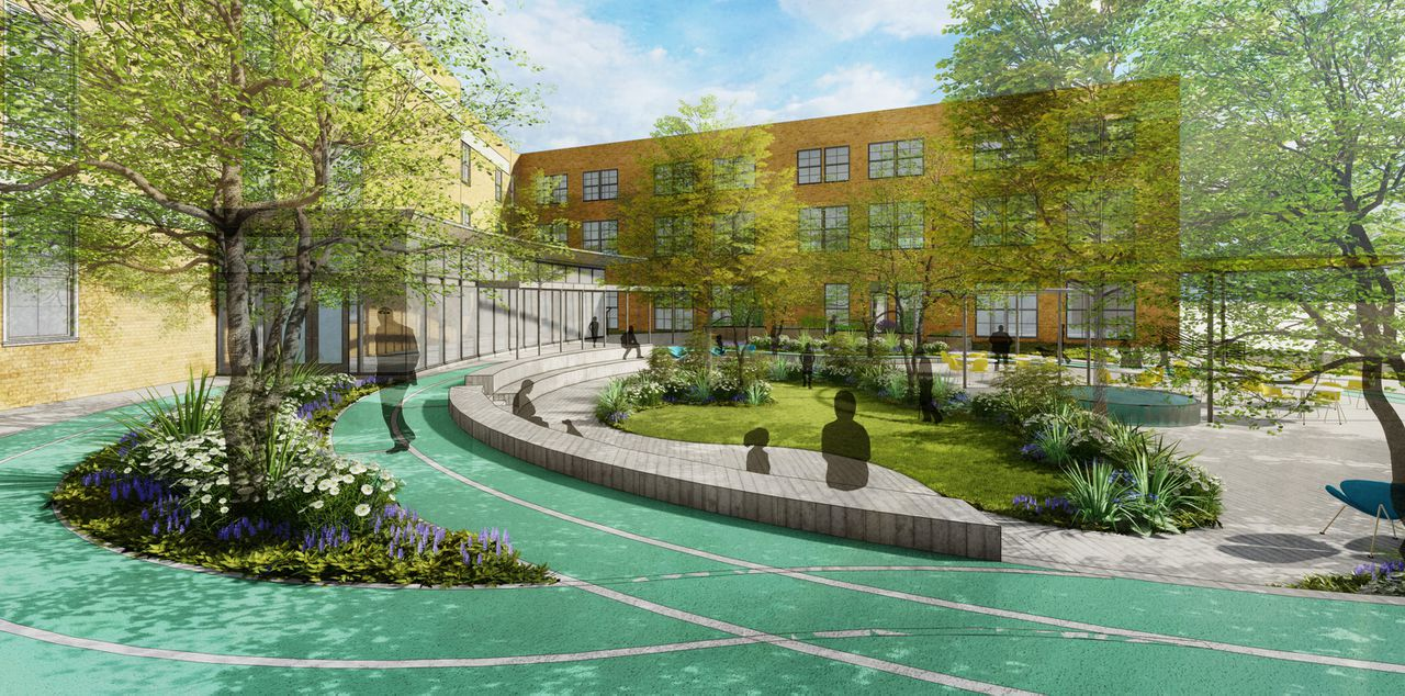 Rendering of a courtyard with walking paths and benches.