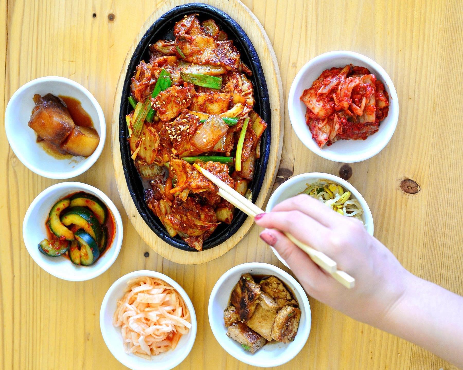 A Korean dish and banchan from Korea House