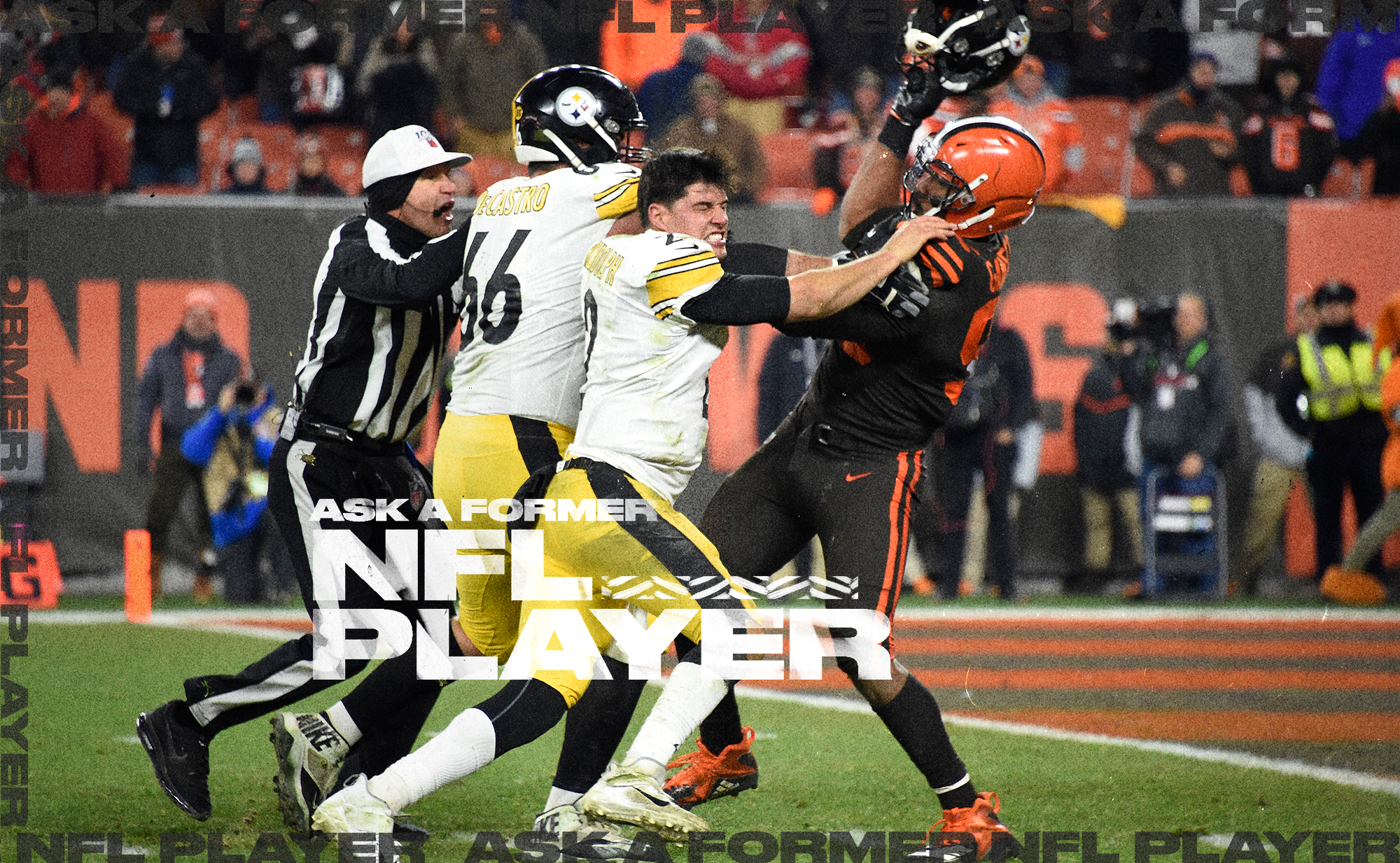 Browns DE Myles Garrett swings a helmet at Steelers QB Mason Rudolph, with OL David DeCastro and a ref trying to break it up