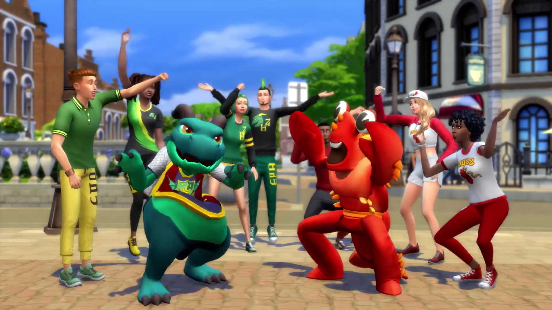 The Sims 4 Discover University - a shot of the school mascots and students