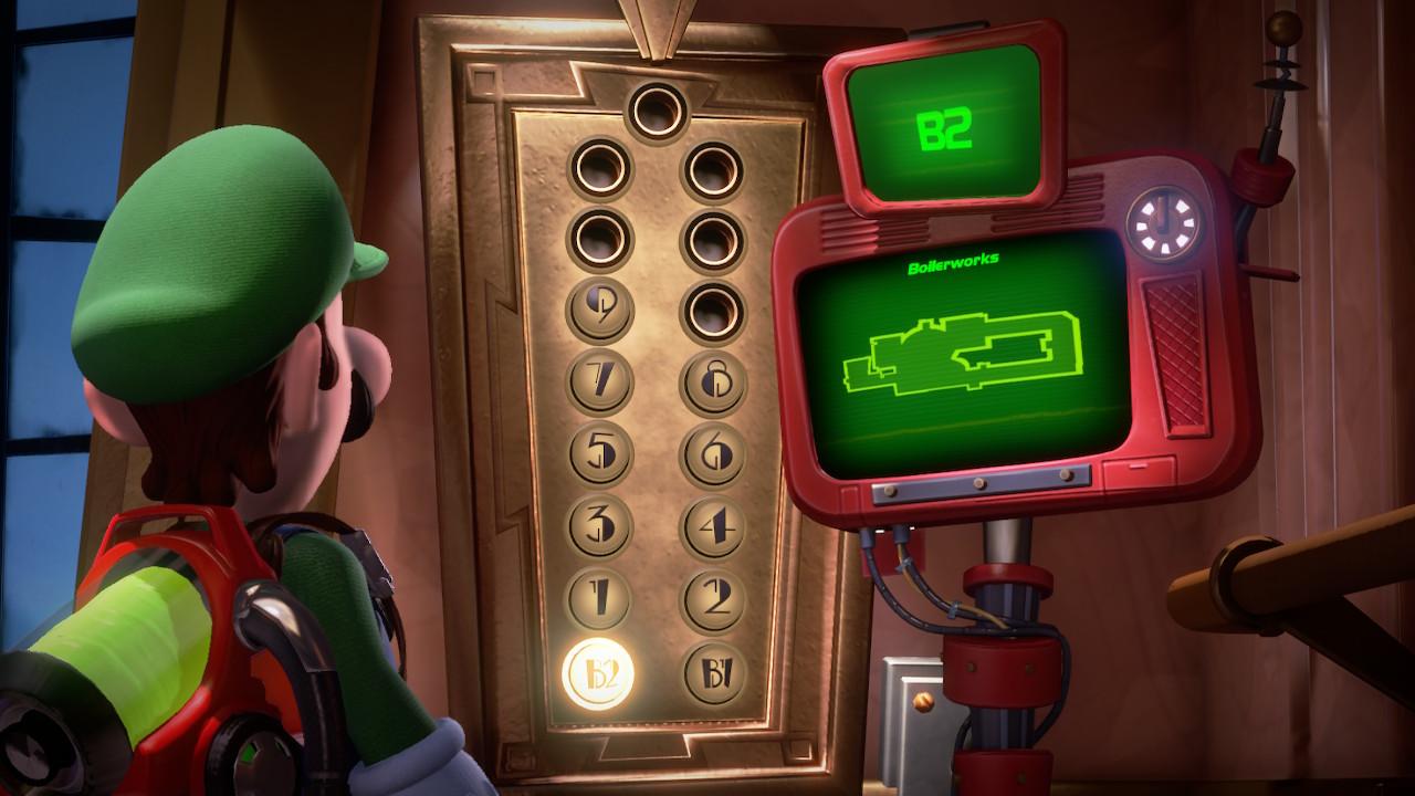 Luigi looking at B2 Boilerworks in the elevator in Luigi's Mansion 3