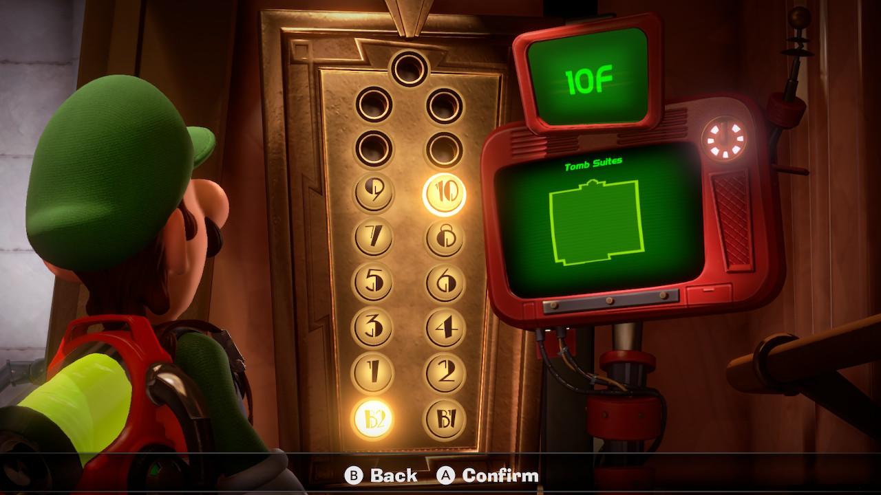 Luigi looks at an elevator in Luigi's Mansion 3