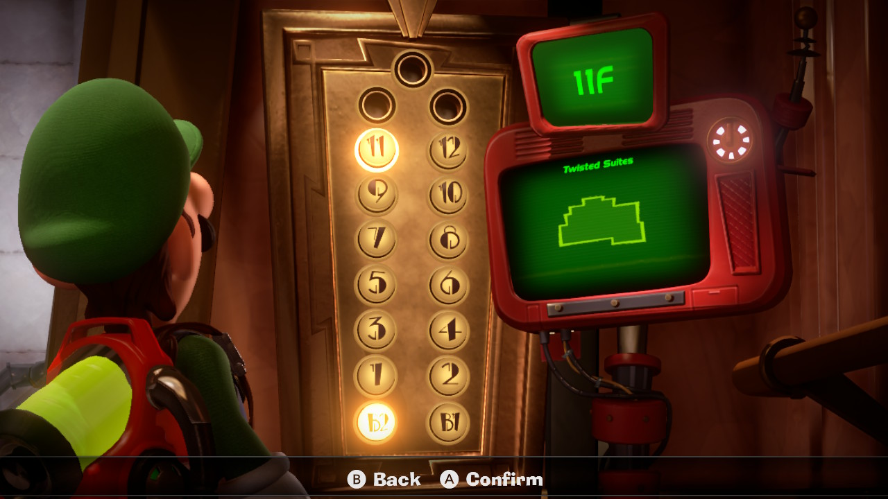 Luigi stares at the 11F Twisted Suites elevator map in Luigi's Mansion 3