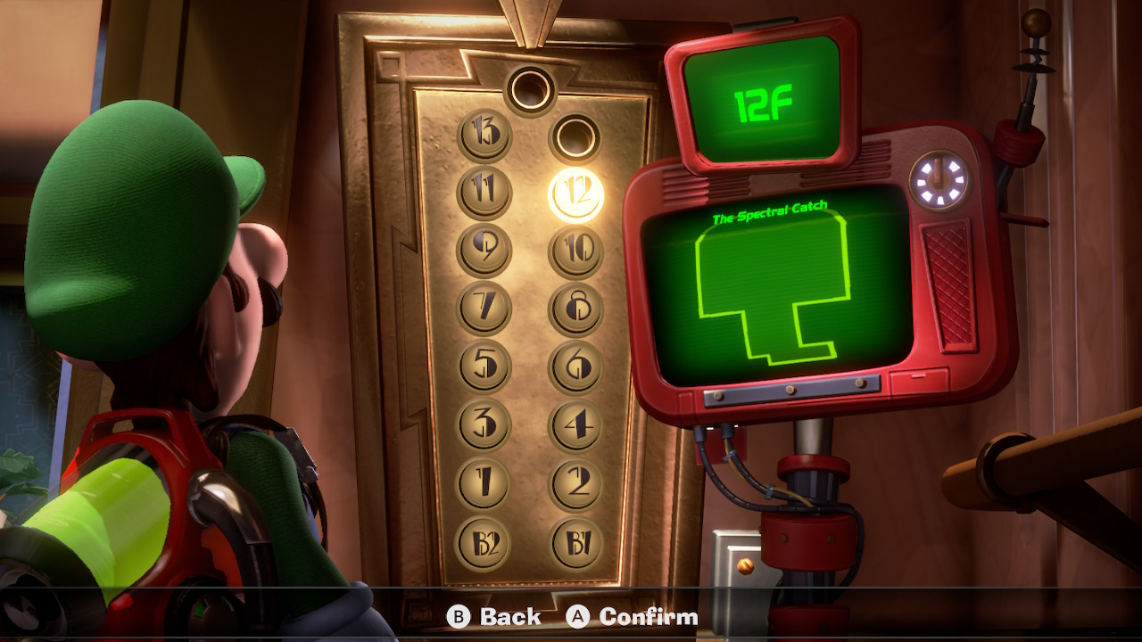 Luigi stares at the 12F Spectral Catch elevator in Luigi's Mansion 3