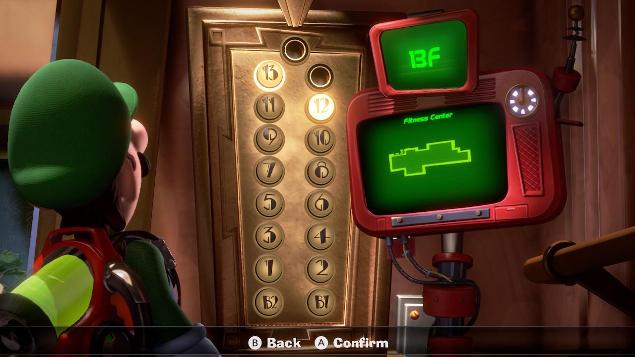 Luigi stares at the 13F Fitness Center elevator in Luigi's Mansion 3