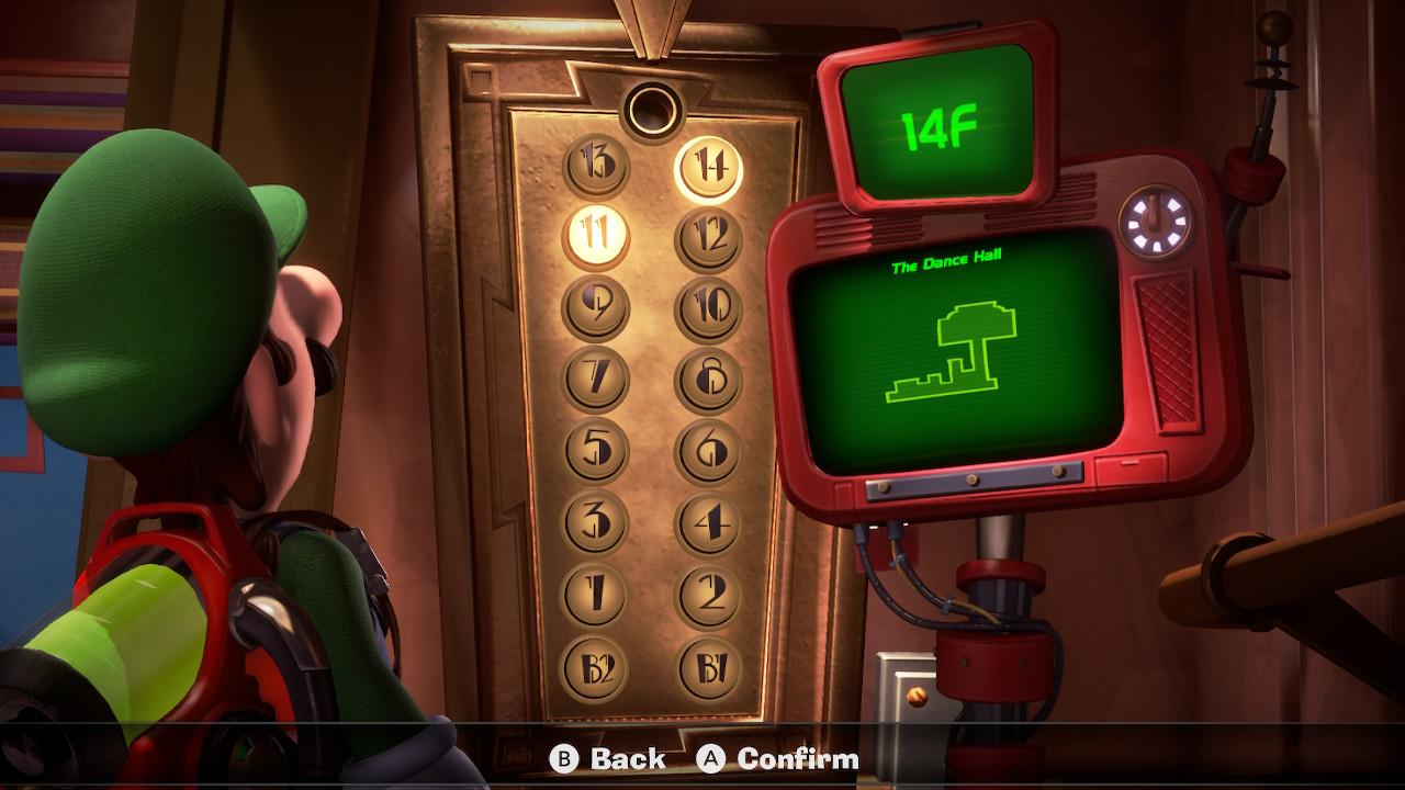 Luigi looks at the 14F Dance Hall in Luigi's Mansion 3