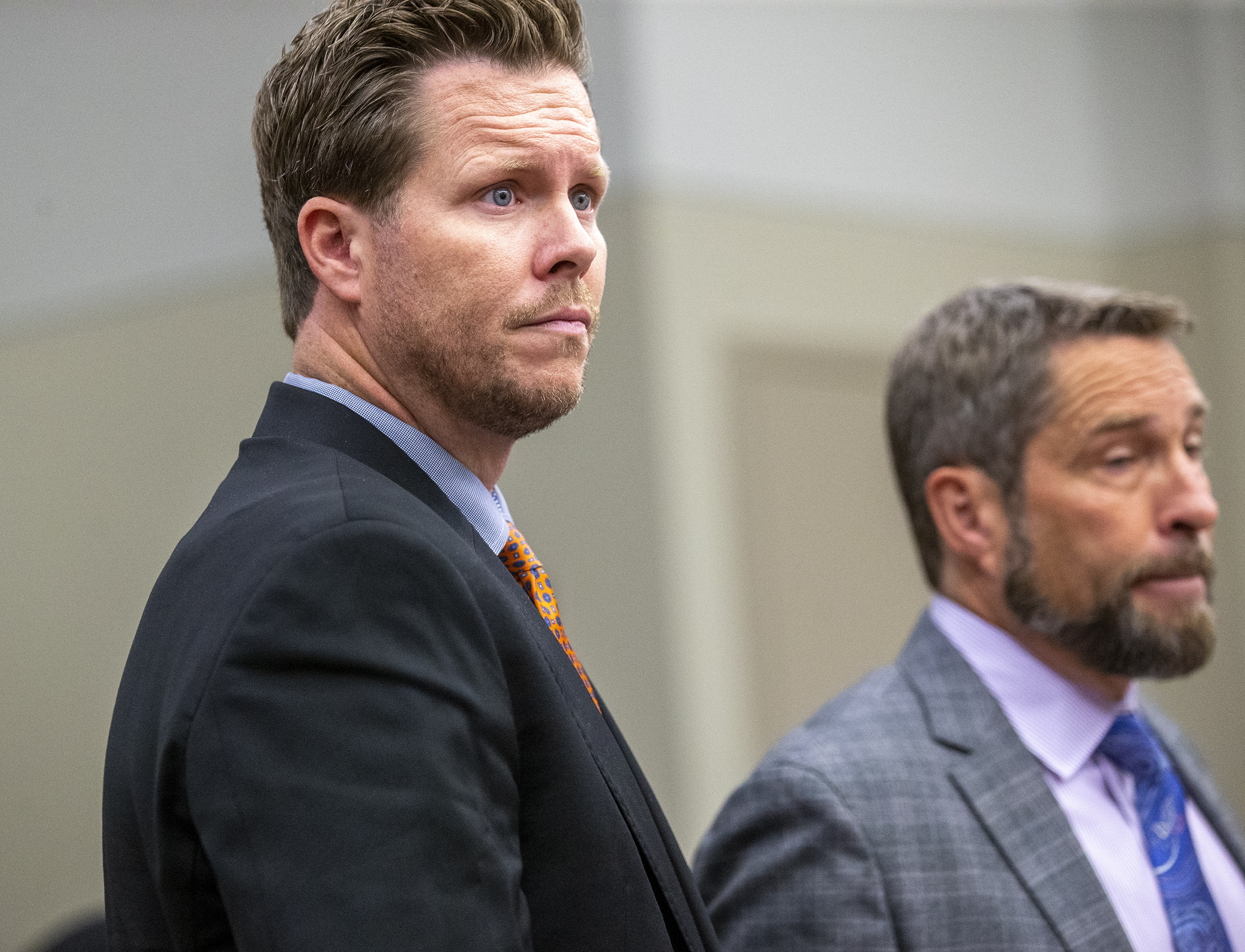 Paul Petersen, left, makes his initial appearancein a 3rd District courtroom at the Matheson Courthouse in Salt Lake City with his attorney, Scott Williams, on Friday, Nov. 15, 2019. Williams, the Maricopa County, Arizona, assessor faces 11 felonies including human smuggling, sale of a child, communications fraud and engaging in a pattern of unlawful activity.