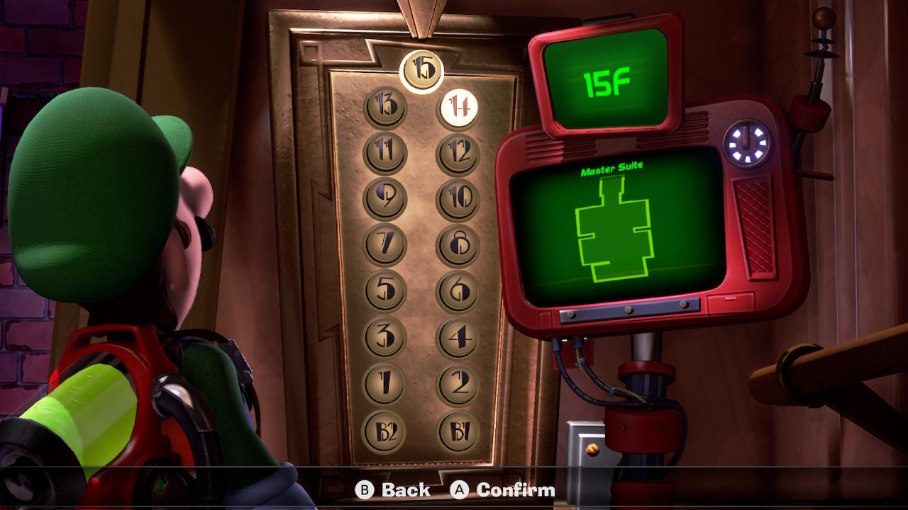 Luigi stares at the elevator for 15F, the Master Suite in Luigi's Mansion 3