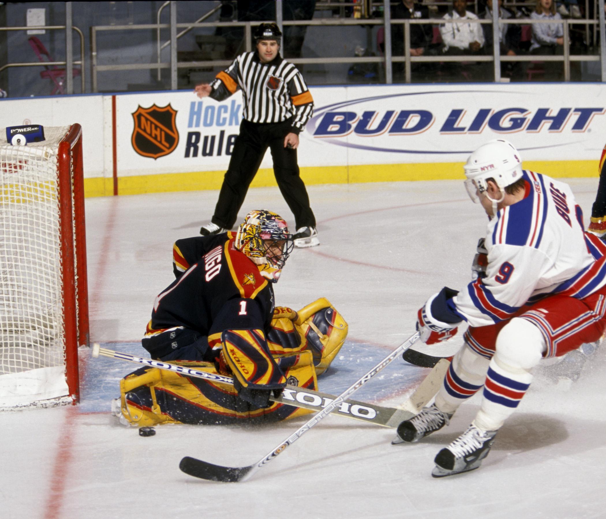 Florida goaltender Roberto Luongo stops NY Ranger Pavel Bure...