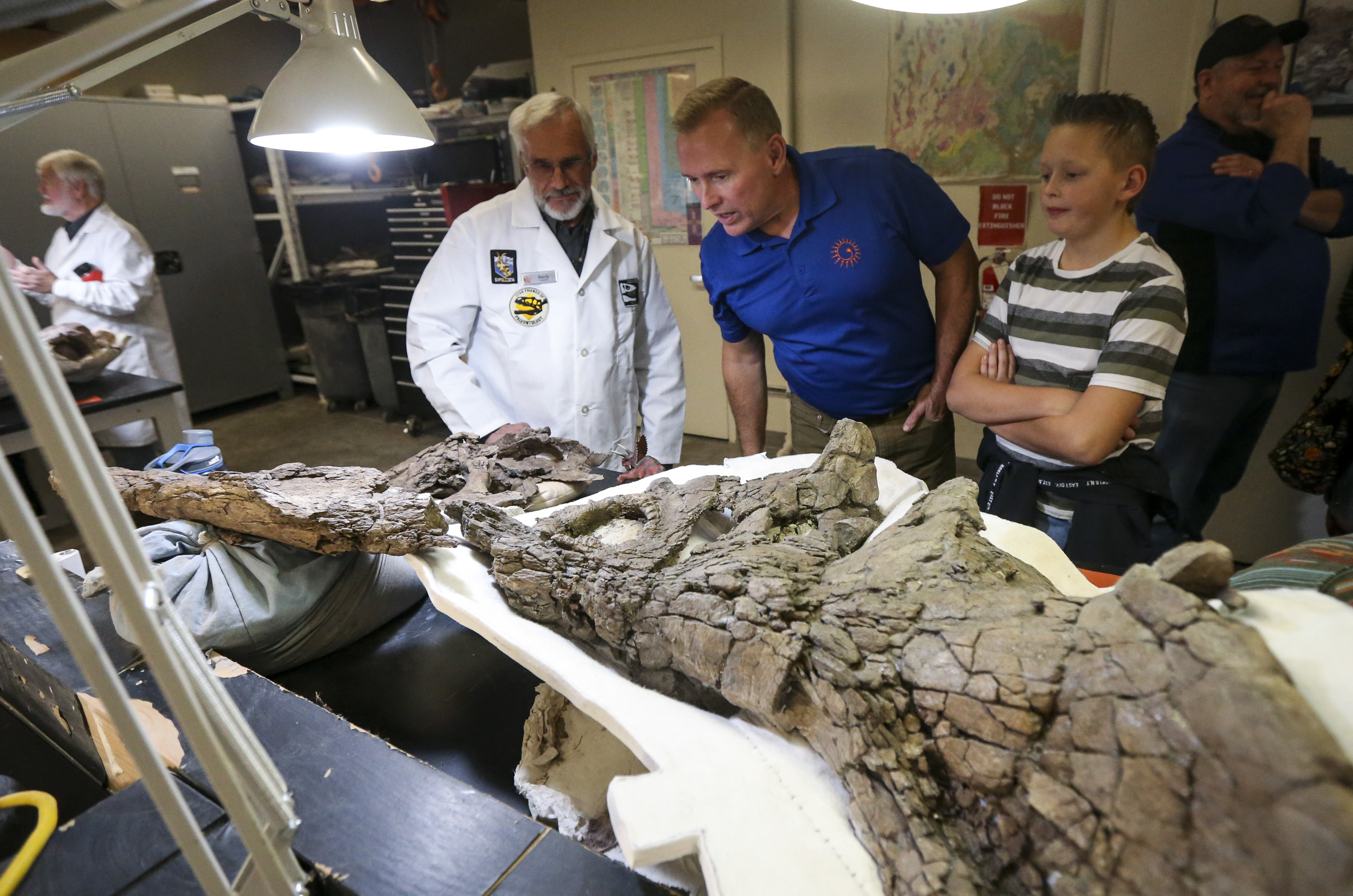 Dave Butterfield, center, and Roc McMains, 12, inspect the fossil of a pentaceratops that was discovered and excavated in southern Utah by volunteer Randy Johnson, left, during the annual behind the scenes event at the Natural History Museum of Utah in Salt Lake City on Saturday, Nov. 16, 2019. During the event, the public is invited into the back rooms the museum to explore objects that aren't often on display and talk to employees and volunteers who work with the artifacts on a regular basis.