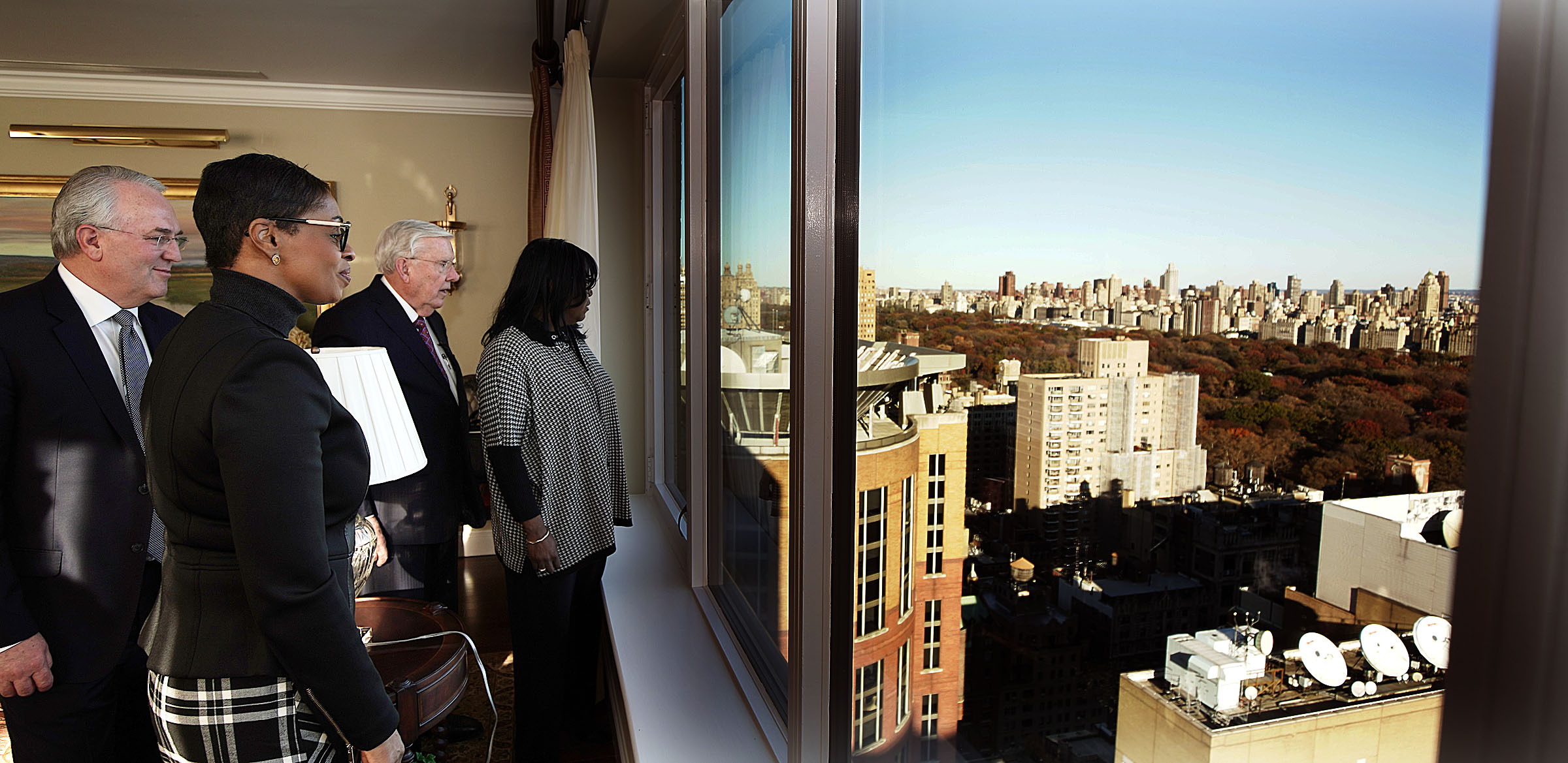 Elder Jack N. Gerard, a General Authority Seventy of The Church of Jesus Christ of Latter-day Saints, left, and President M. Russell Ballard, third from left, acting president of the Quorum of the Twelve Apostle, take in a view of New York City with Karen Boykin-Towns, second from left, vice chairwoman of the NAACP, and Theresa Dear, a member of the national board of directors for the NAACP, on Saturday, Nov. 16, 2019.
