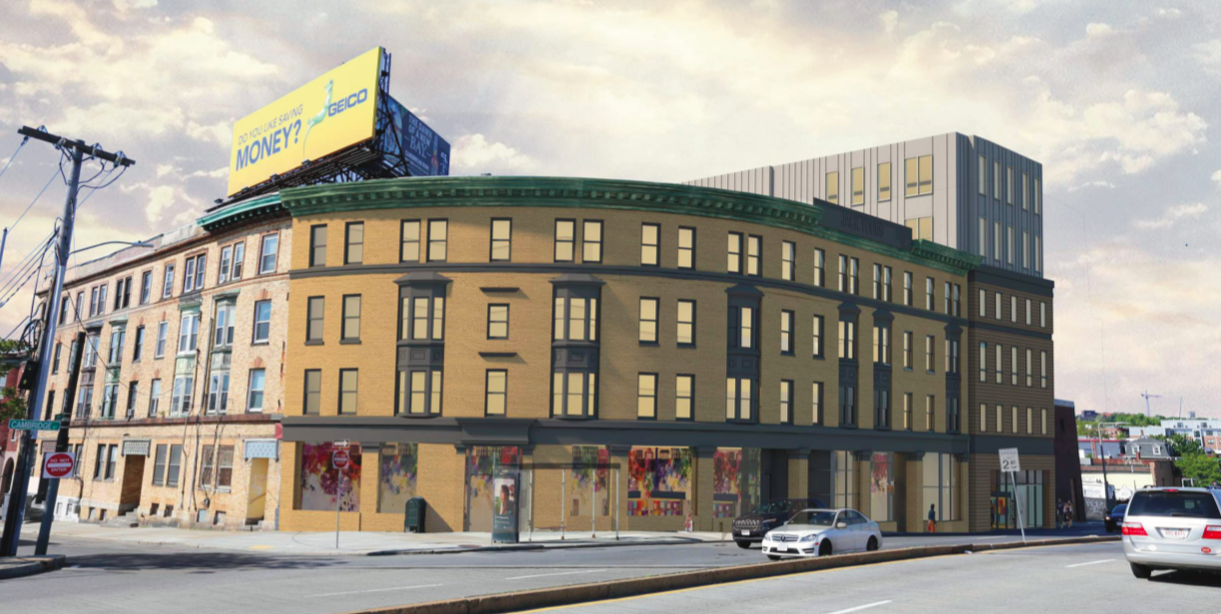 Rendering of a curved four-story building at a street corner.