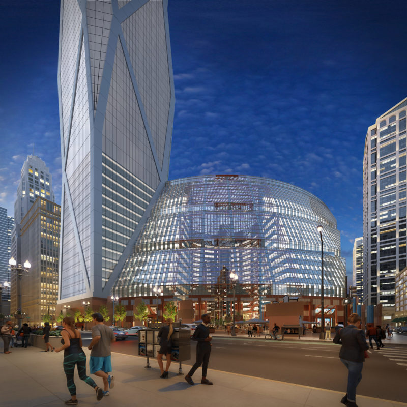 A rendering of the proposed Helmut Jahn addition to the Thompson Center.