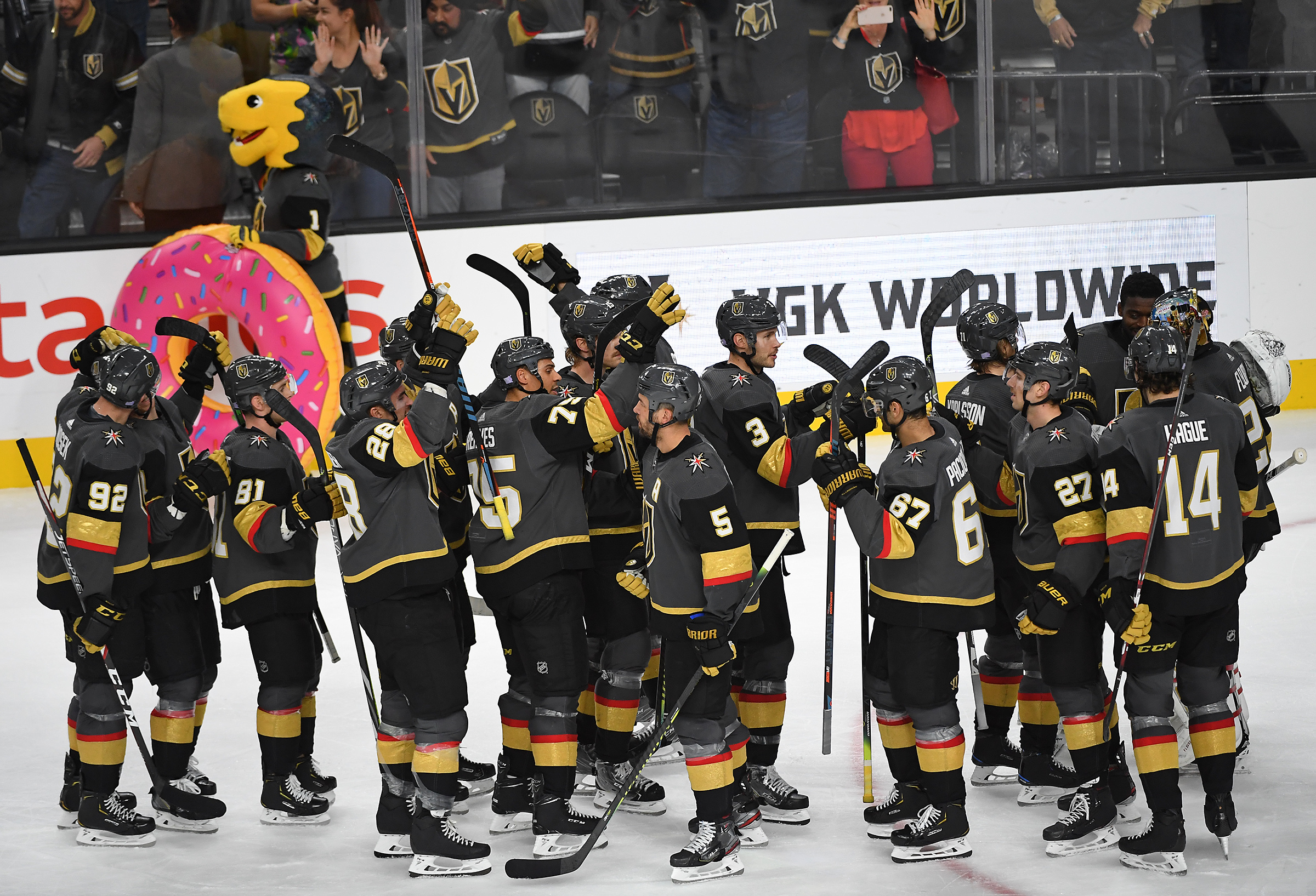 Nov 17, 2019; Las Vegas, NV, USA; Vegas Golden Knights players celebrate after defeating the Calgary Flames 6-0 at T-Mobile Arena.