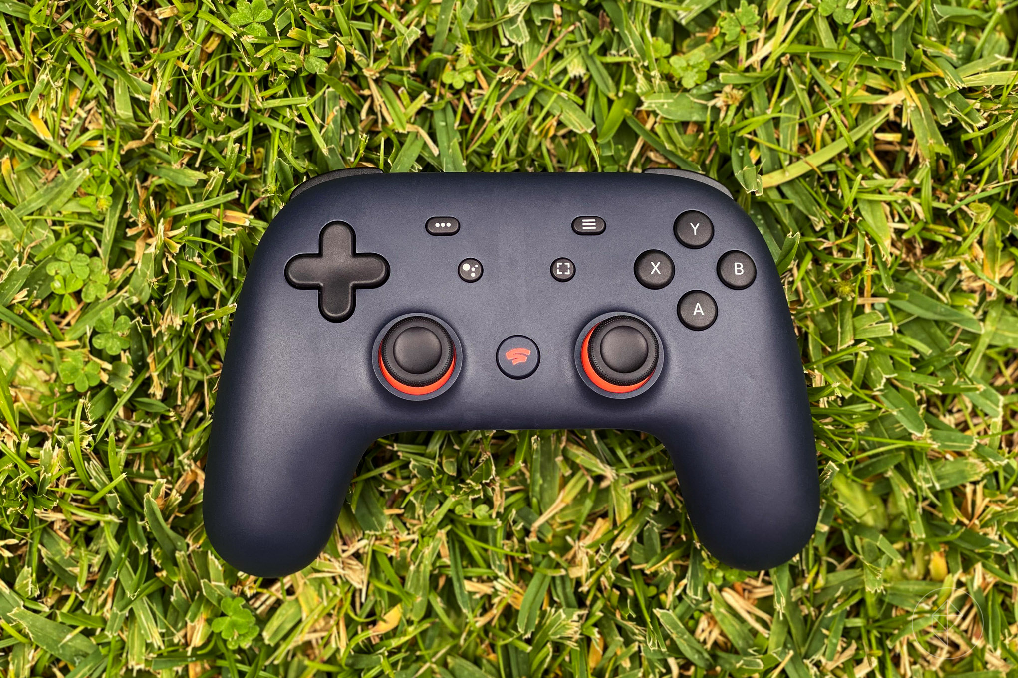 Google Stadia controller on grass