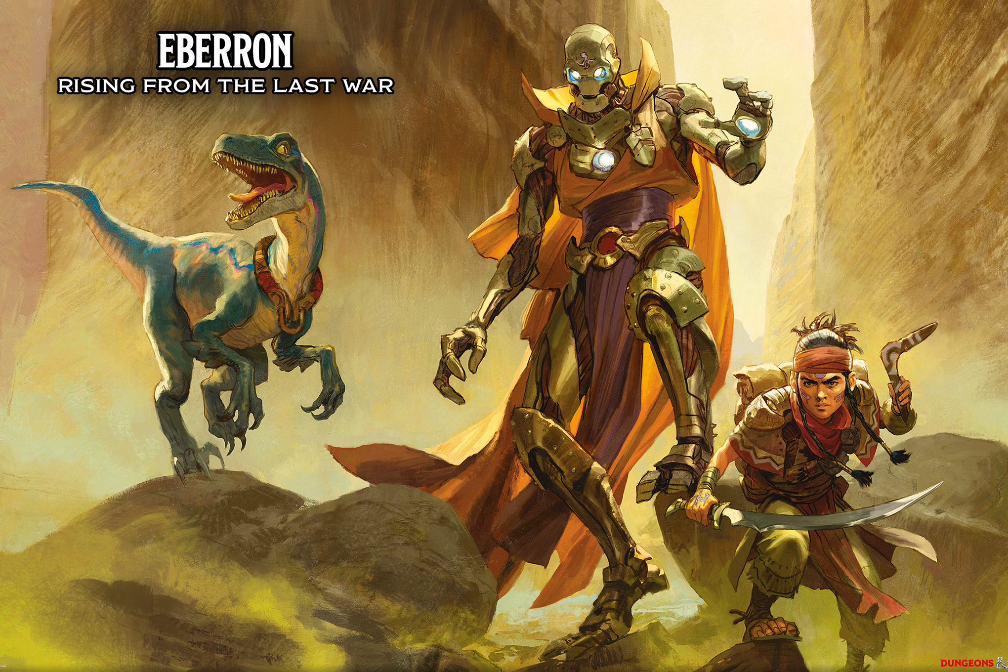 Cover art for Eberron: Rising From The Last War shows a velociraptor, flanked by a humanoid construct and a thief with a scimitar and a boomerang. The landscape is desolate and brown.