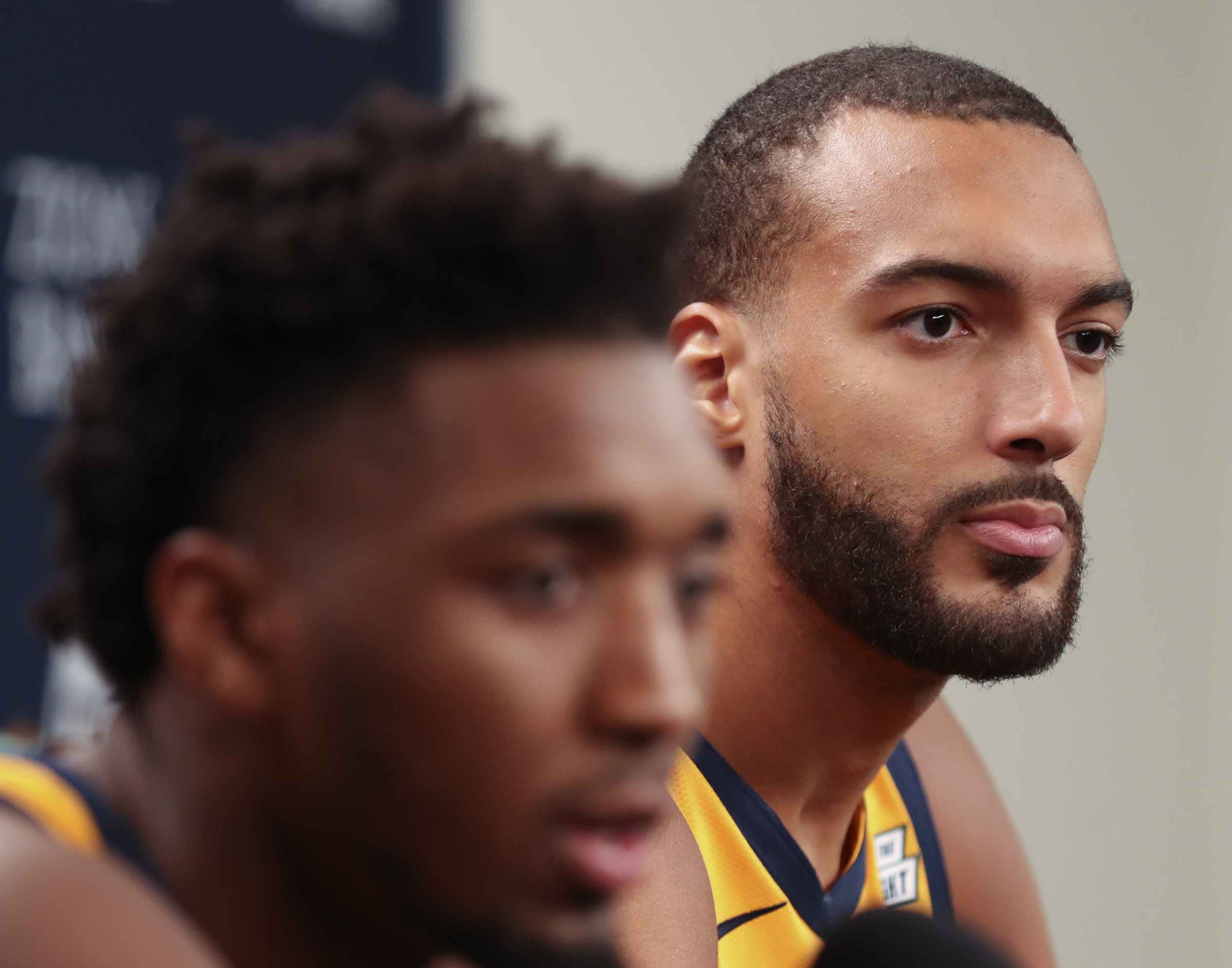 Utah Jazz players Rudy Gobert, right, and Donovan Mitchell and answer questions during Jazz Media Day at Vivint Arena in Salt Lake City on Monday, Sept. 30, 2019.