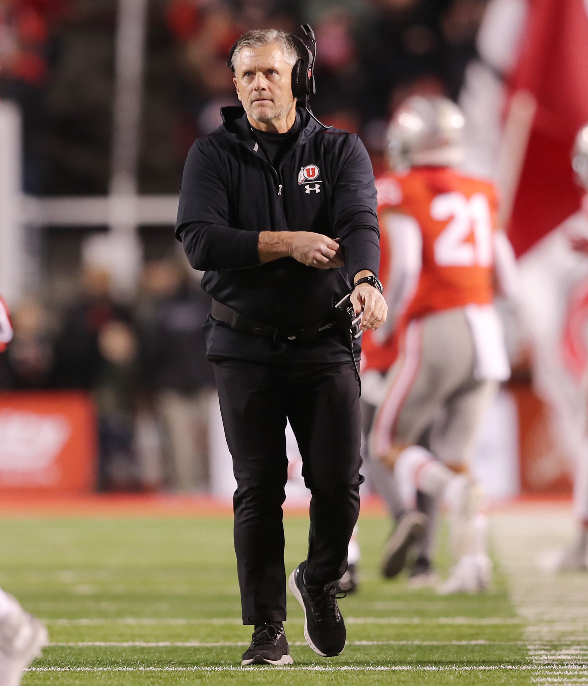 Utah Utes head coach Kyle Whittingham walks the sidelines after a Utah score as Utah and UCLA play a college football game in Salt Lake City at Rice-Eccles Stadium on Saturday, Nov. 16, 2019.
