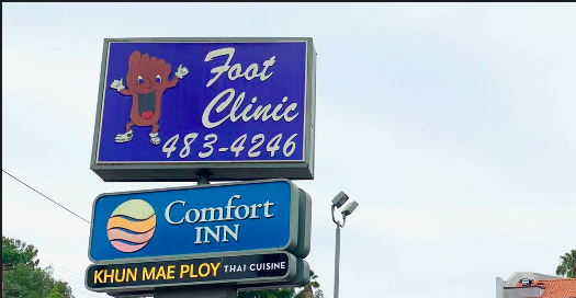 The former Happy Foot/Sad Foot Clinic sign in Silver Lake, CA