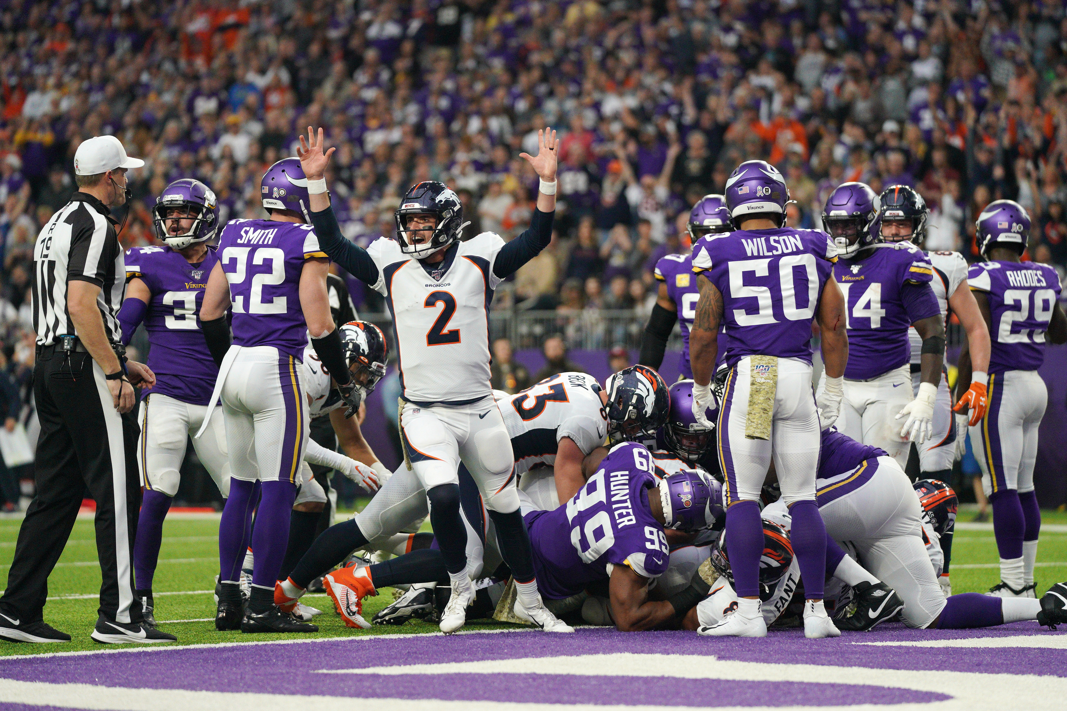 The Denver Broncos played at the Minnesota Vikings