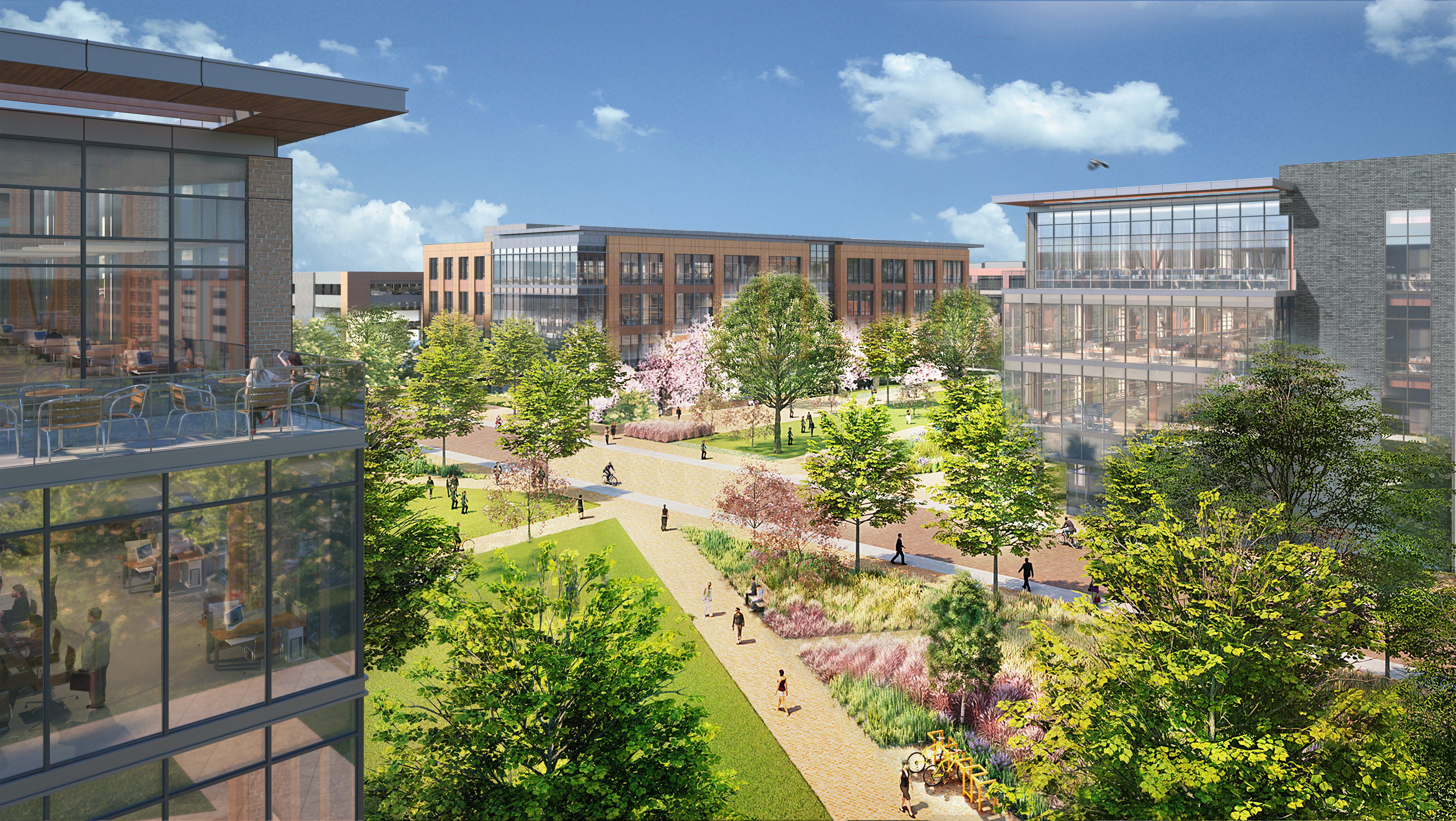A rendering of a high-tech office campus with walkable corridors and green space.