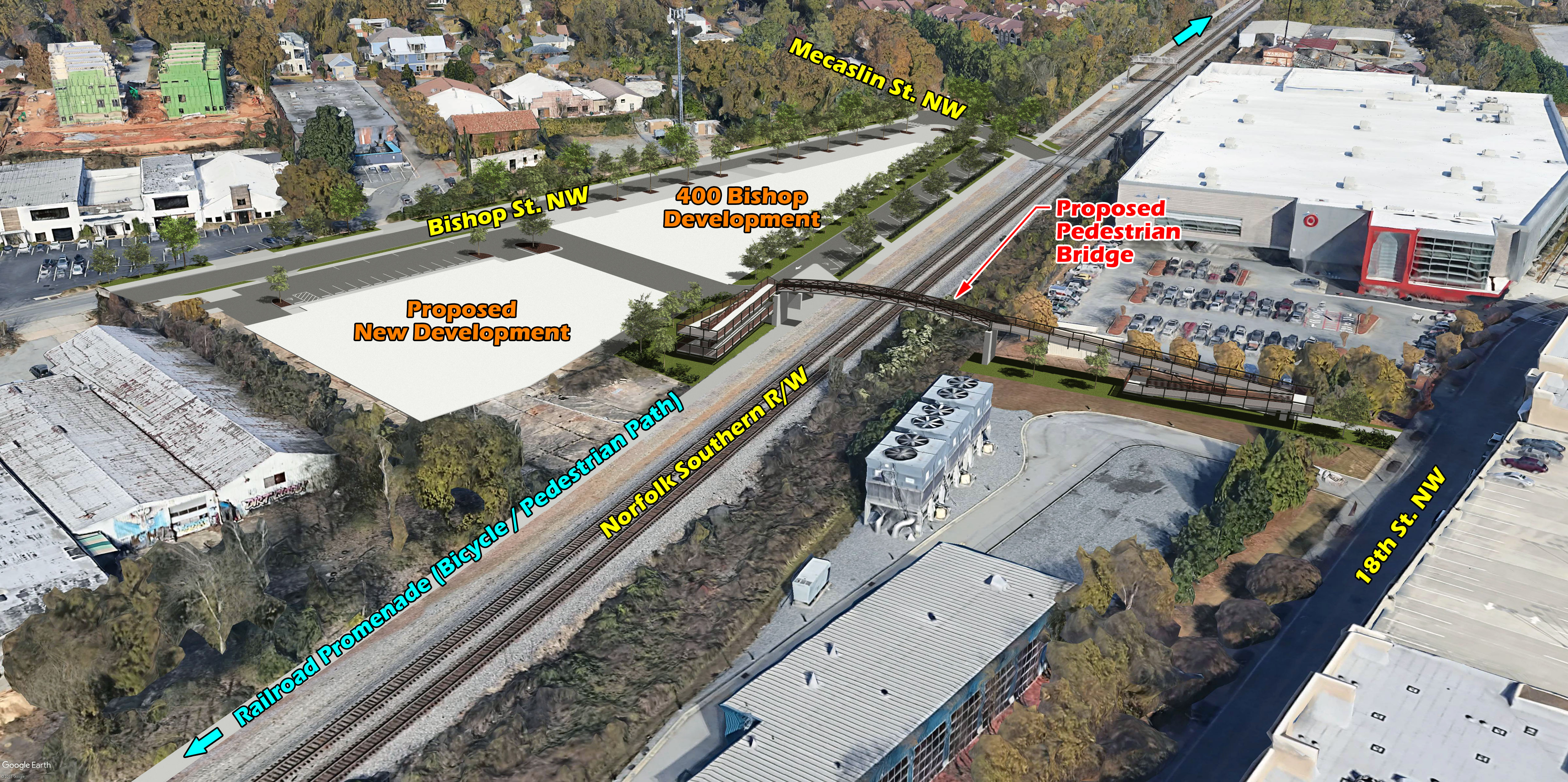 A rendering of the bridge arched over the railroad tracks, superimposed on a 3D map of the area.