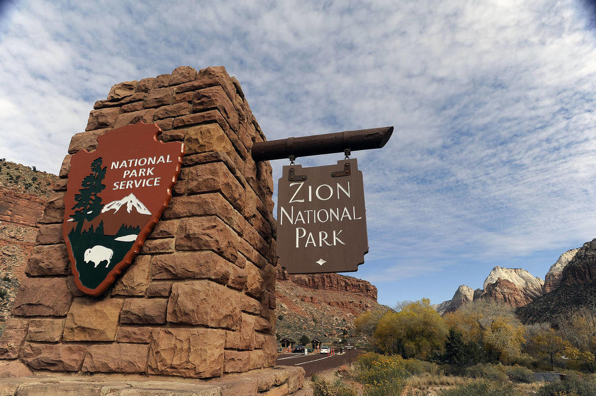 An entrance to Zion National Park.