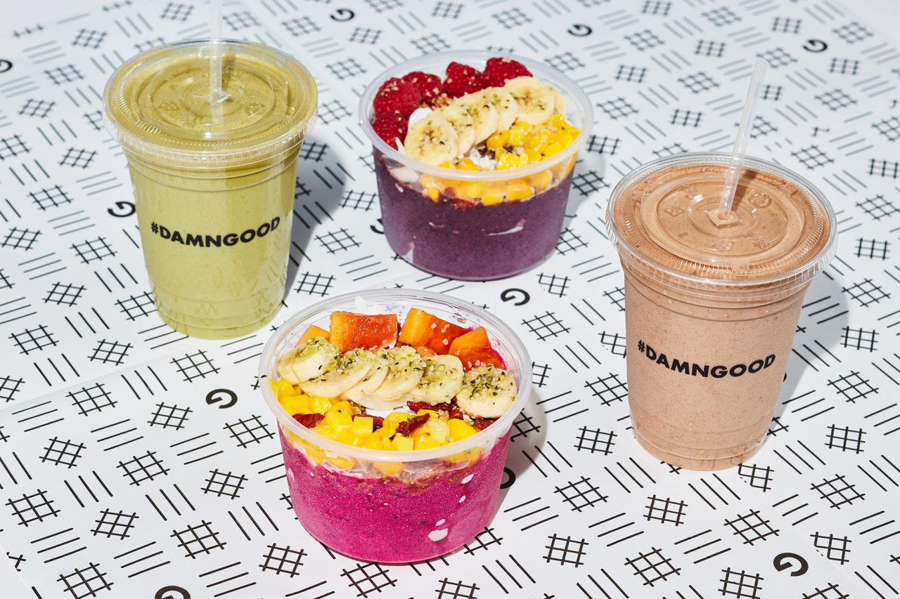 Two smoothies and superfood bowls.
