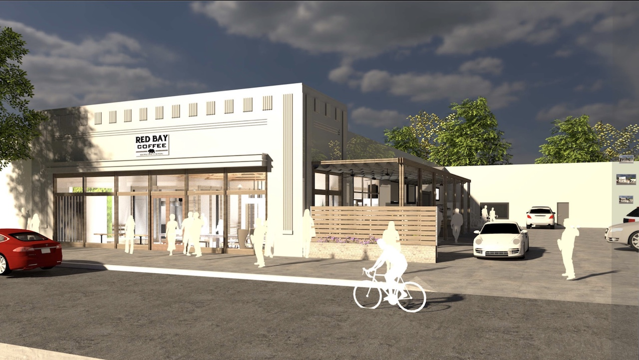 Rendering for the future Red Bay Coffee in Jefferson Park